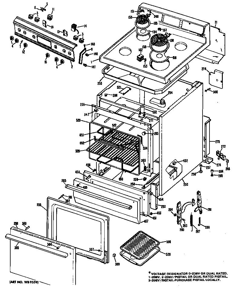 Ge model JBS03*06 ranges, electric genuine parts