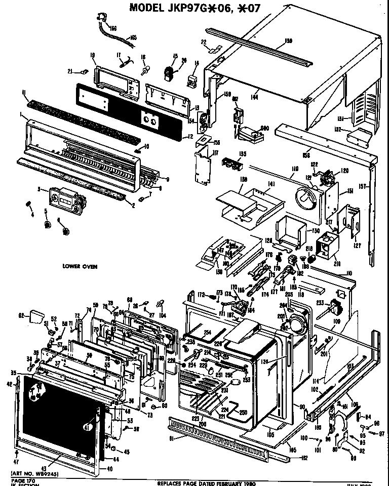 Ge model JKP97G*06 range (gas) genuine parts