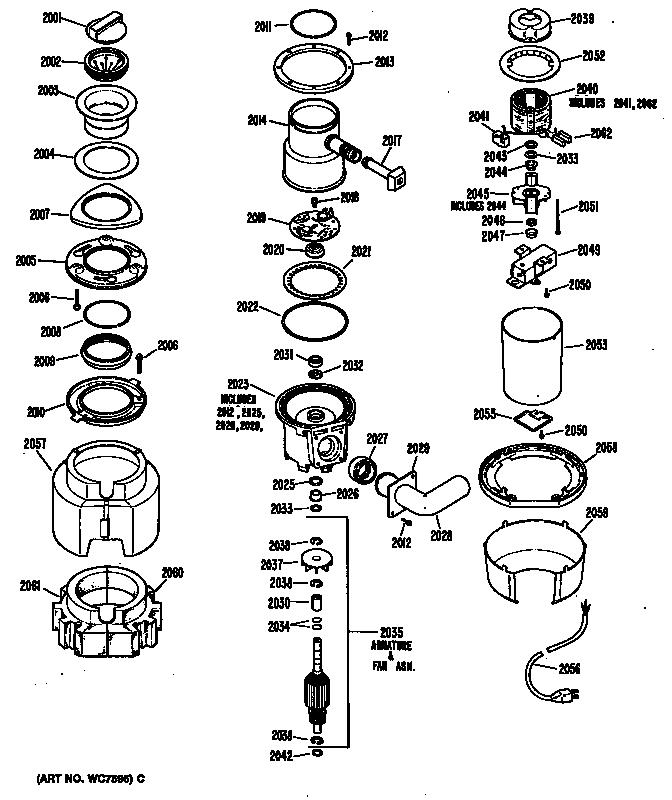 Ge model GFC300-01 garbage disposal genuine parts