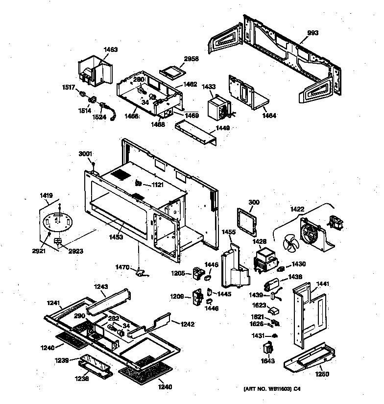 Ge model JVM231WV01 microwave/hood combo genuine parts