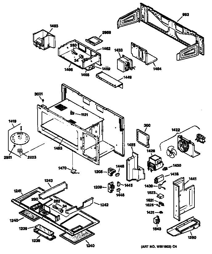 Ge model JVM230BV01 microwave/hood combo genuine parts