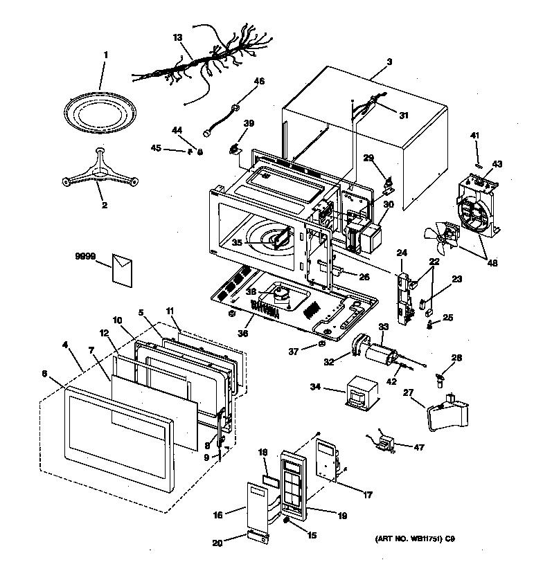 Ge model JE1640GB01 countertop microwave genuine parts