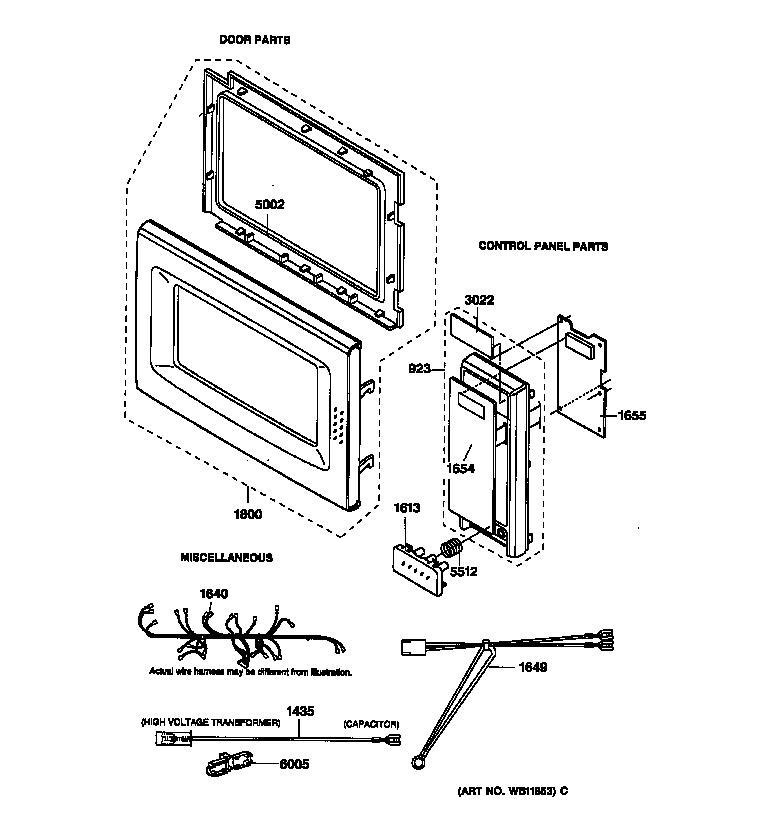 Ge model JE1060GB01 countertop microwave genuine parts