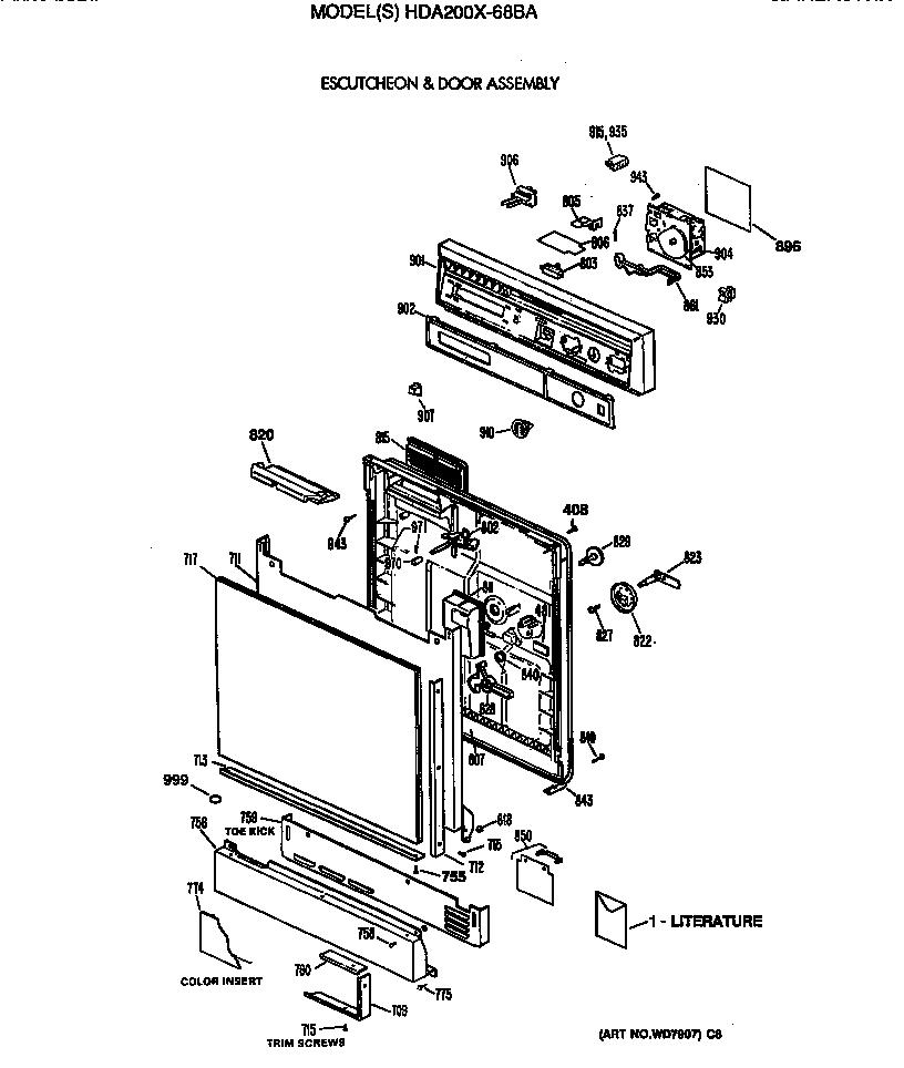 Hotpoint model HDA200X-68BA dishwasher genuine parts