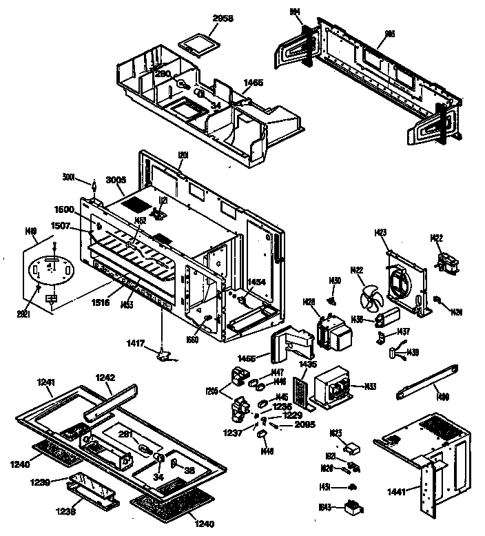 Hotpoint model RVM125K03 microwave/hood combo genuine parts