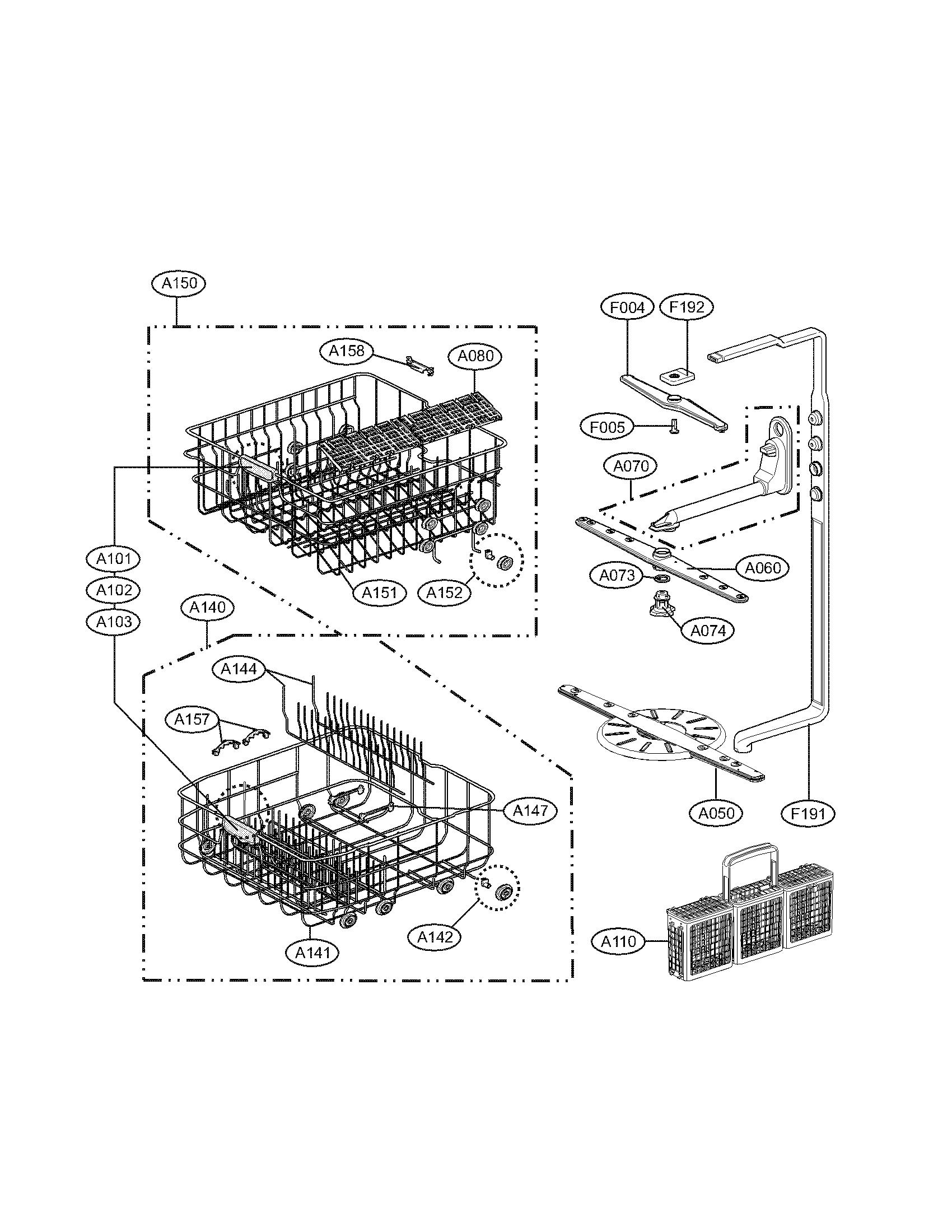 Lg model LDF7810ST dishwasher genuine parts