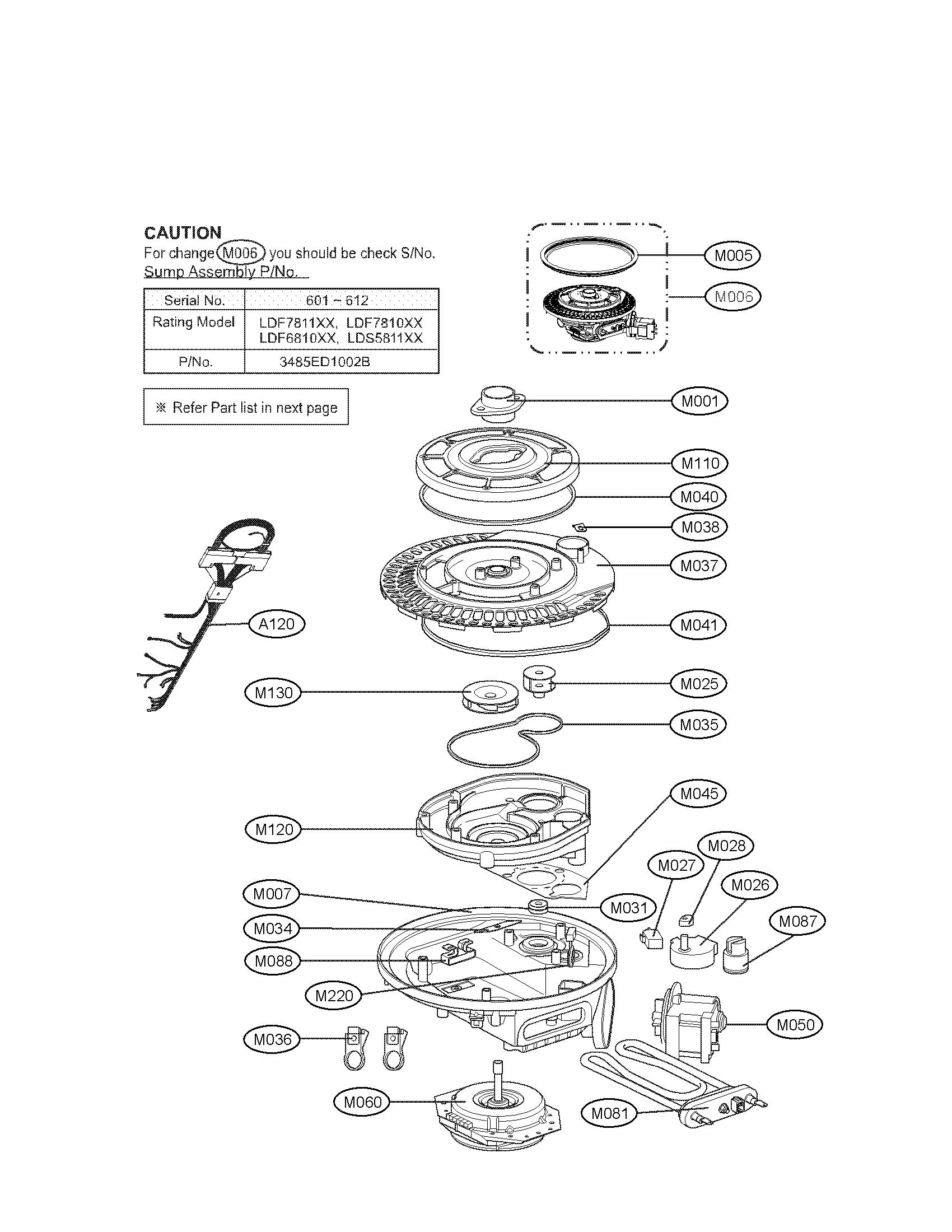 Lg model LDS5811ST-01 dishwasher genuine parts