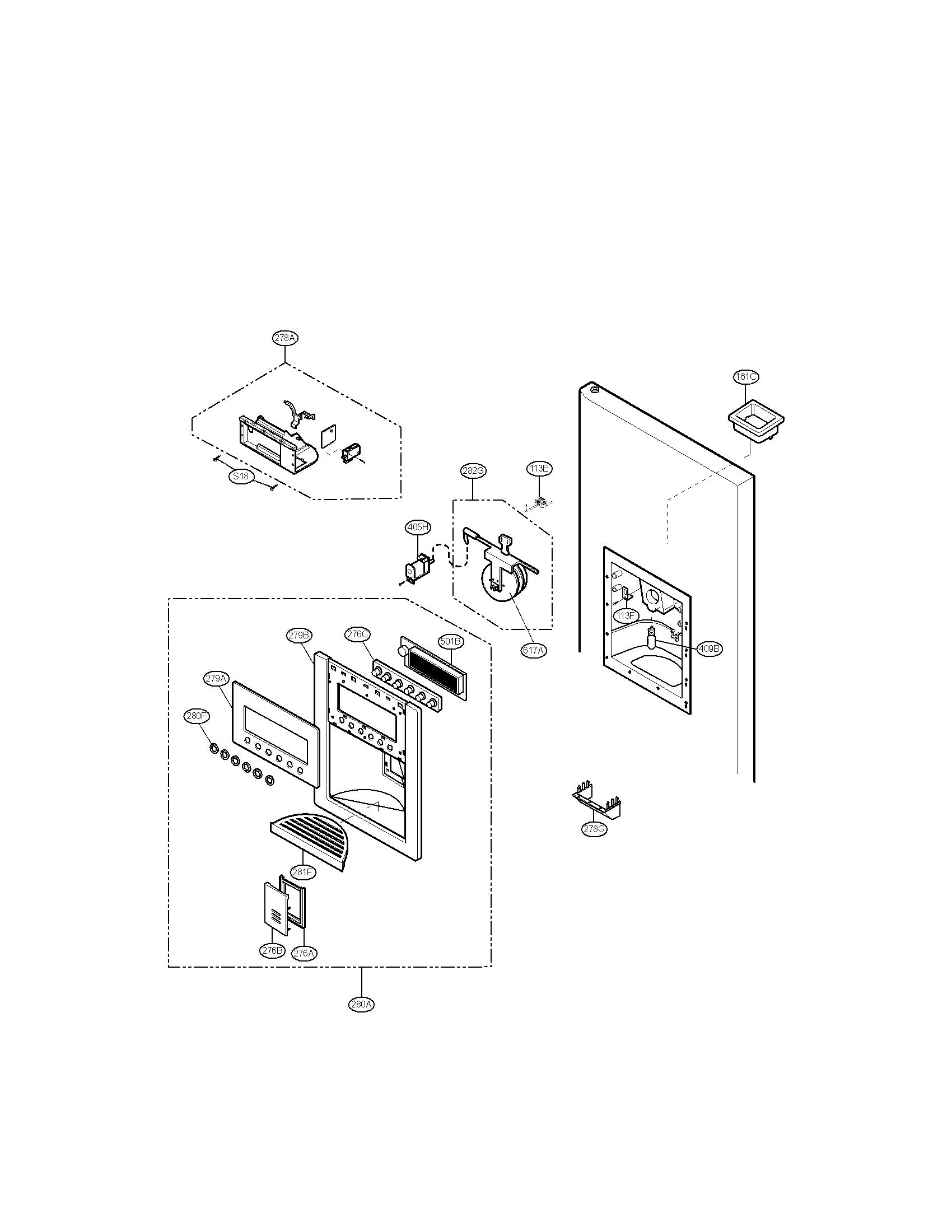 Lg model LRSC26925SW side-by-side refrigerator genuine parts