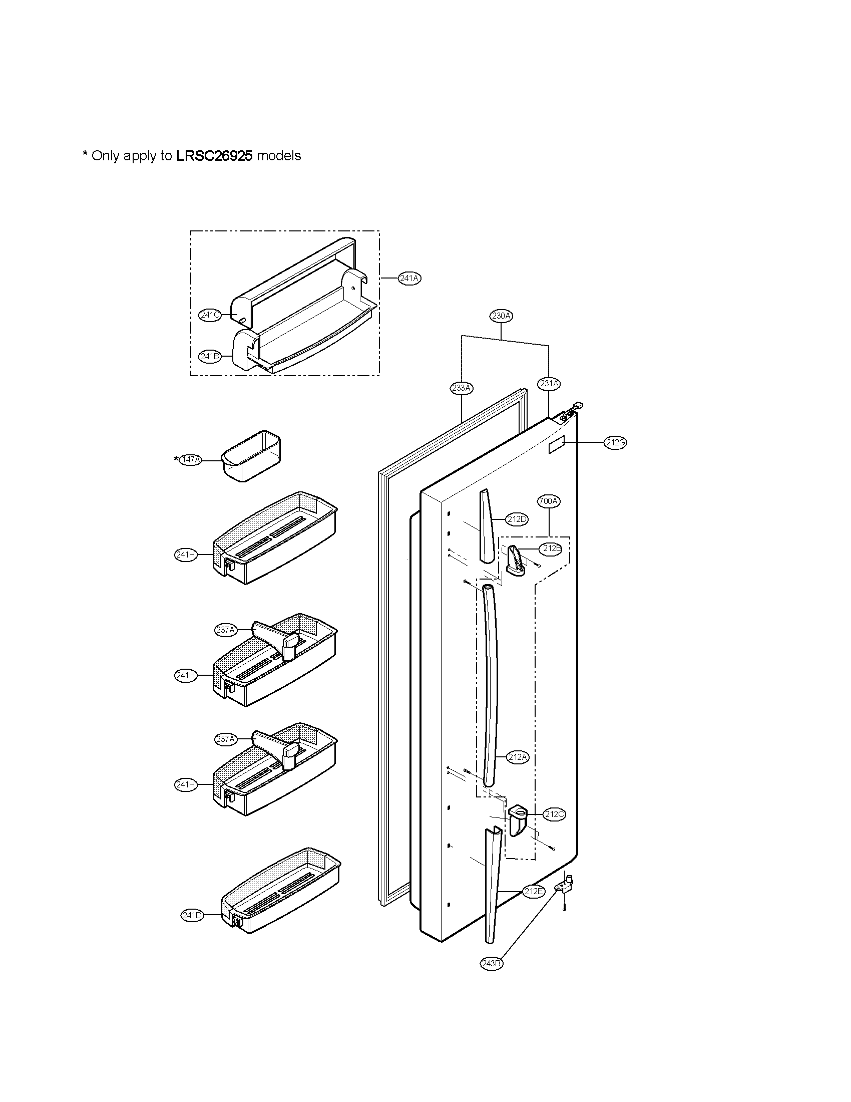 Lg model LRSC26925TT side-by-side refrigerator genuine parts