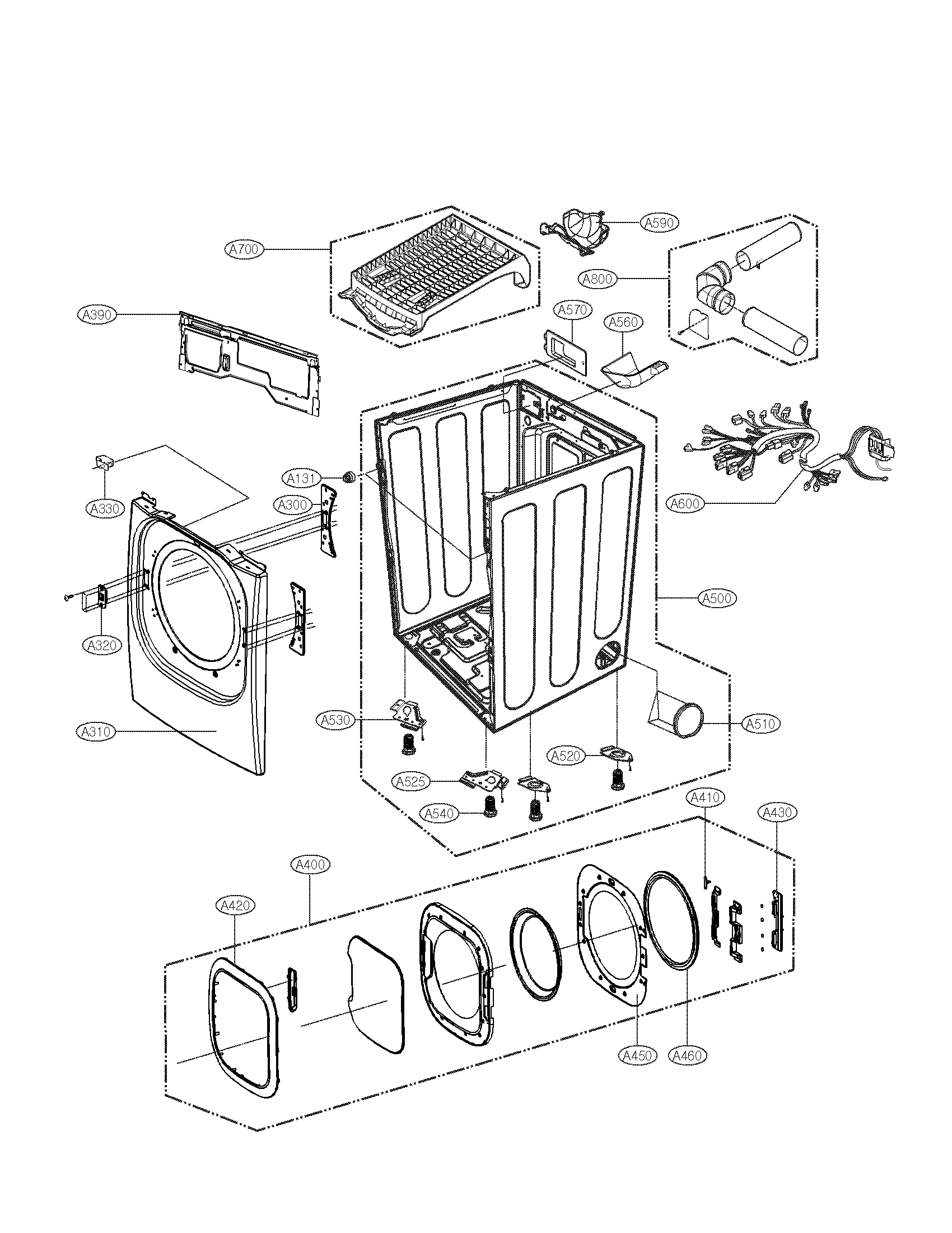Lg model DLEX2801W residential dryer genuine parts