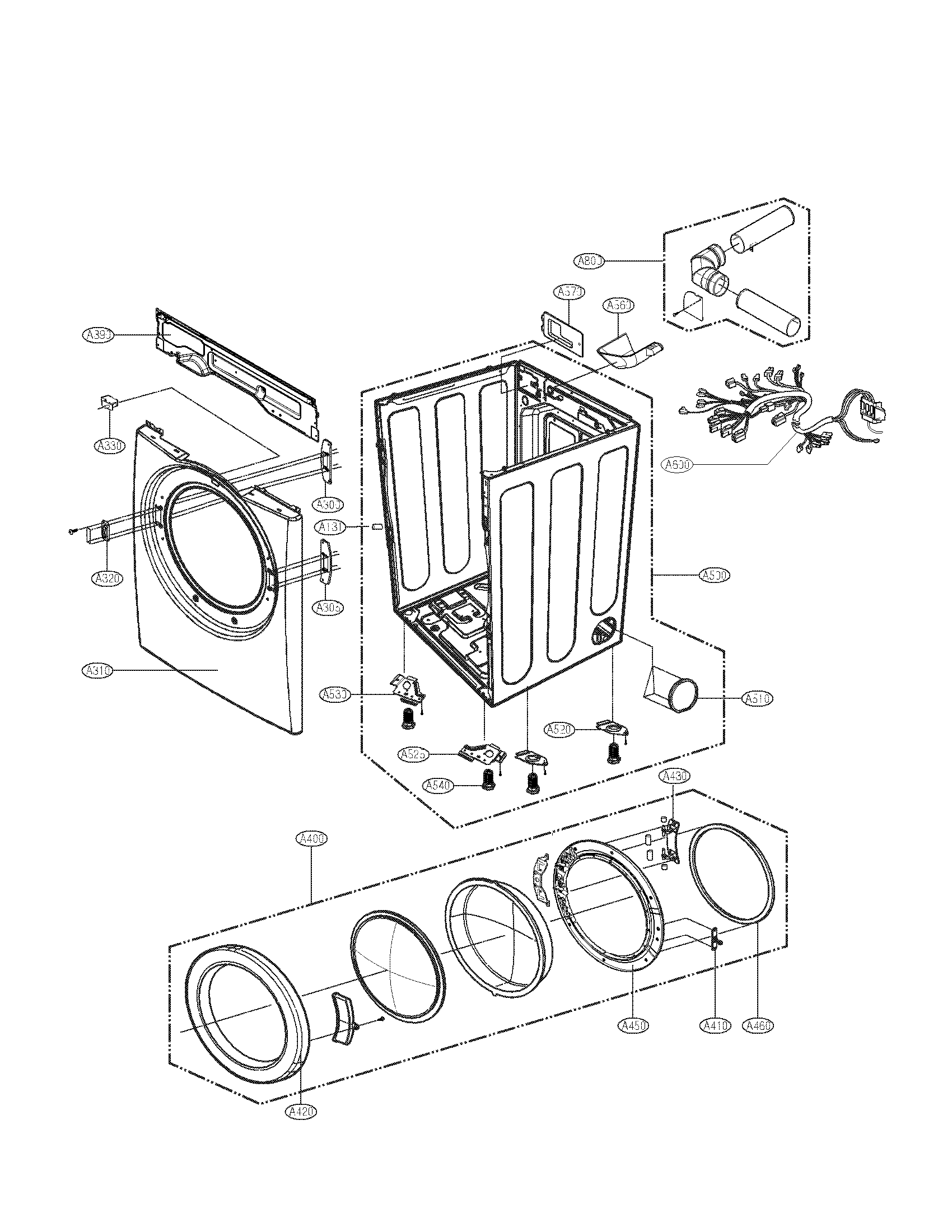 Lg model DLE2101W residential dryer genuine parts