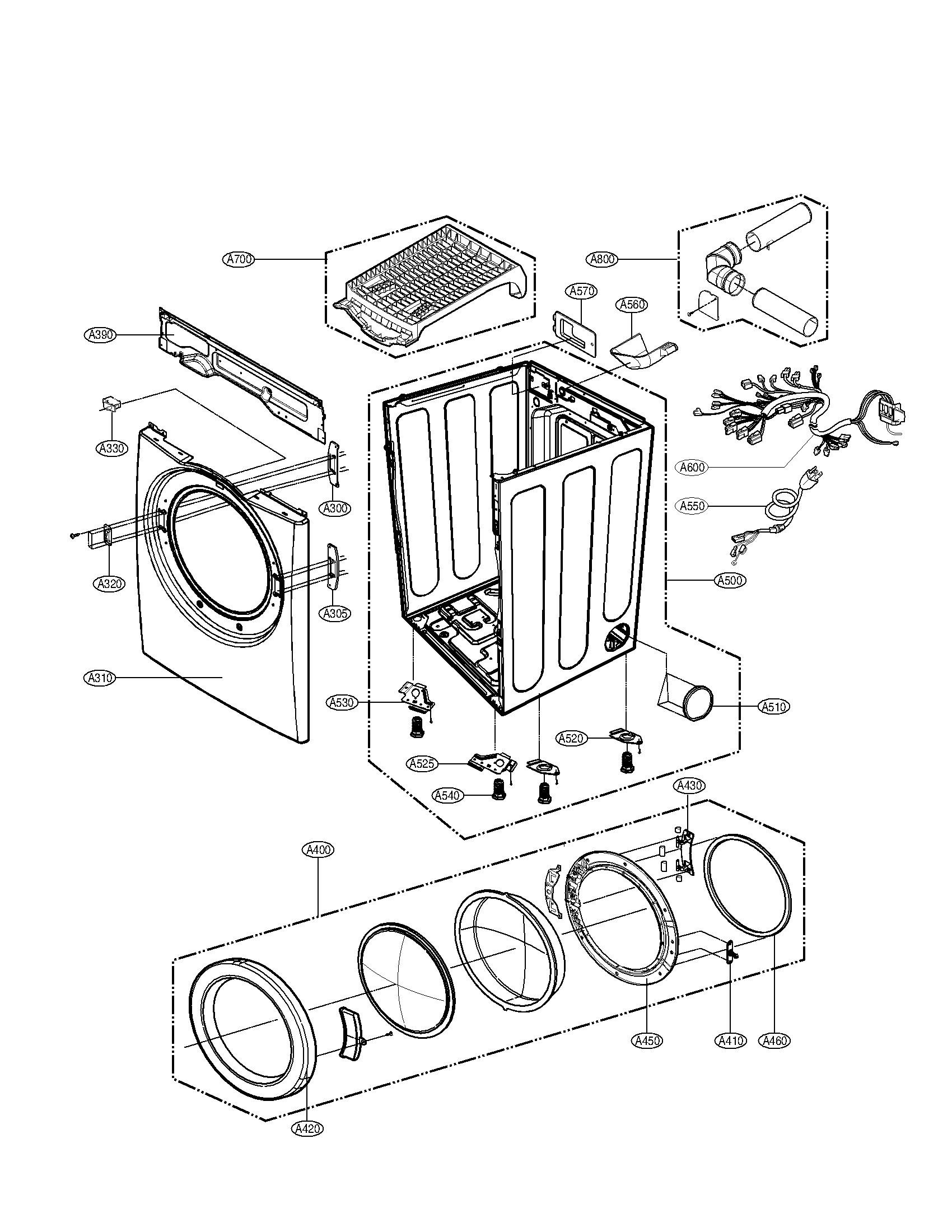 Lg model DLE3777W residential dryer genuine parts
