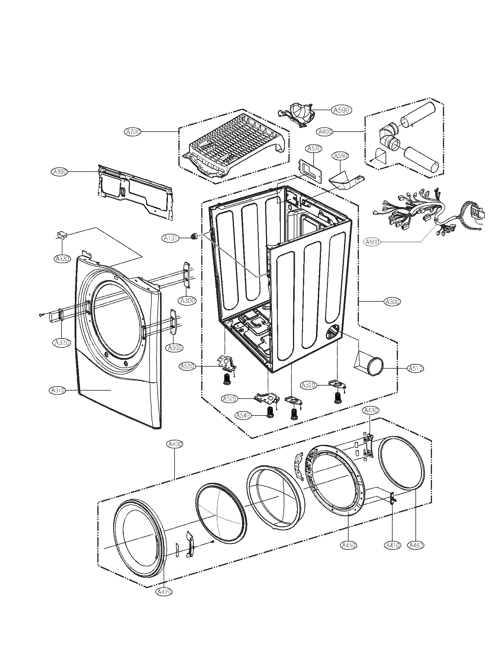 Lg model DLEX2501V residential dryer genuine parts