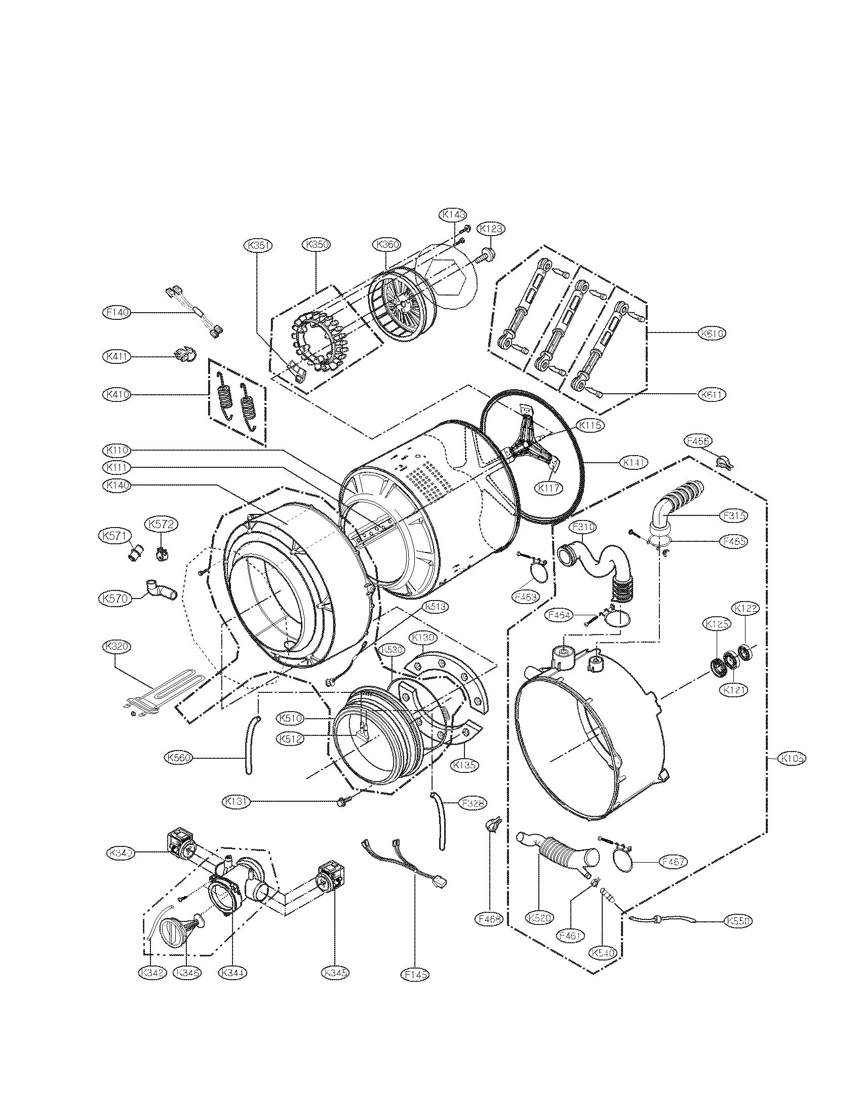 Lg model WM2487HRMA residential washers genuine parts