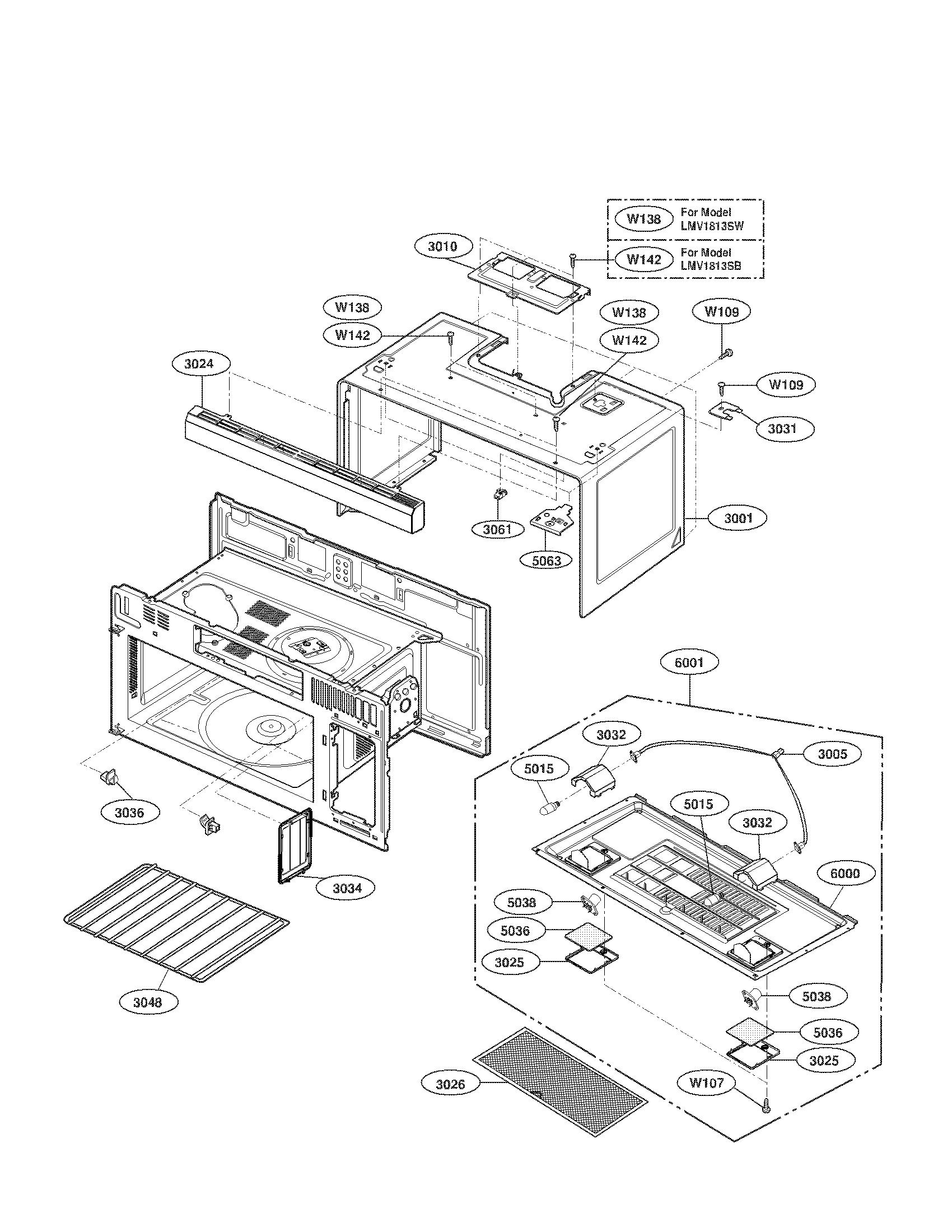 Lg model LMV1813SW/00 microwave/hood combo genuine parts