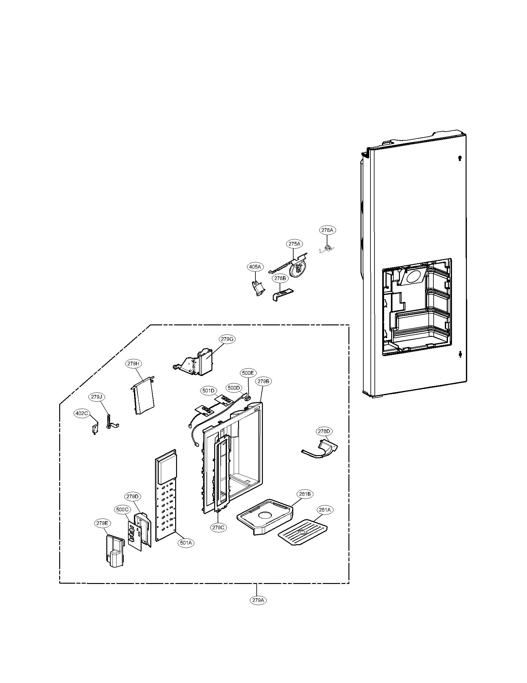 Lg model LMX25984ST/00 bottom-mount refrigerator genuine parts