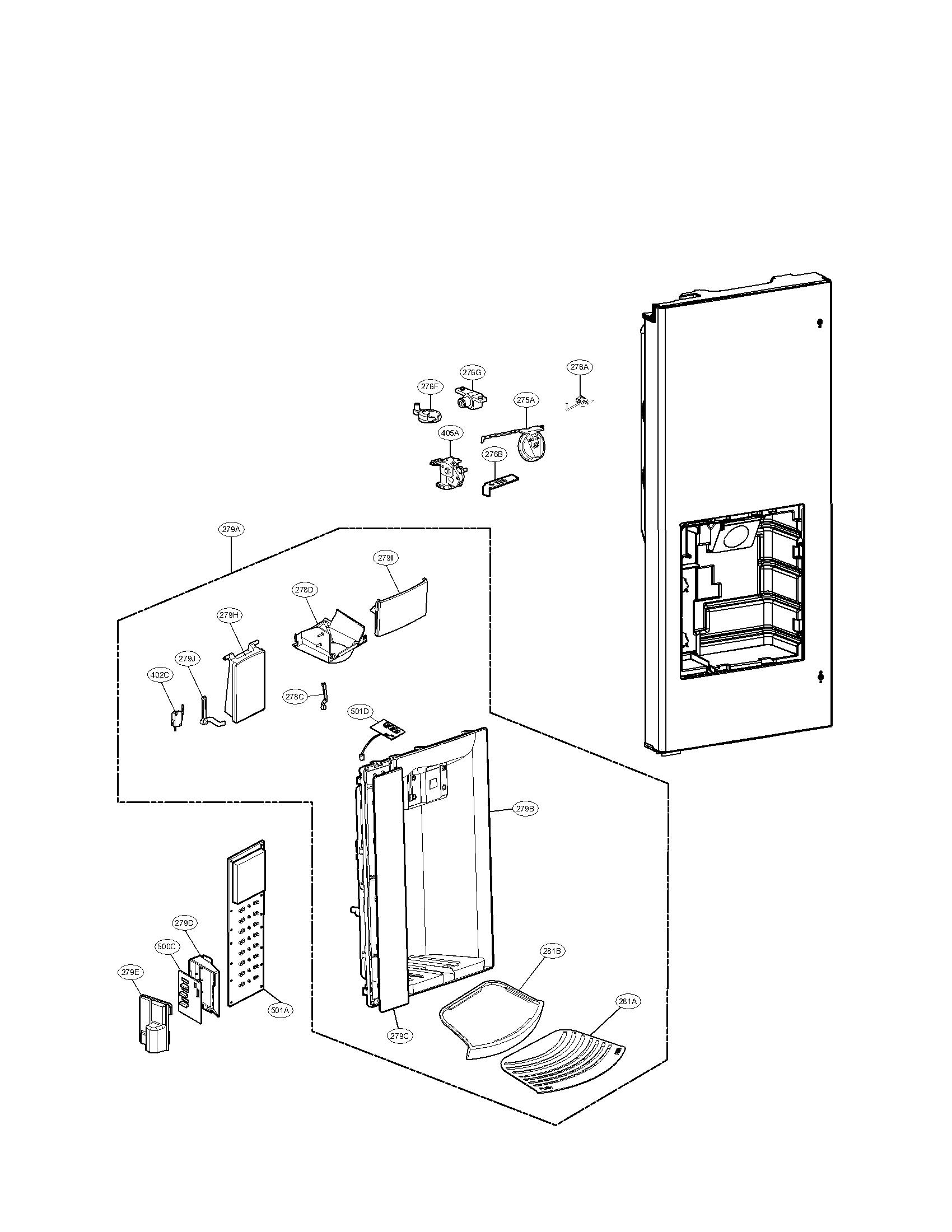 Lg model LFX28978SB/00 bottom-mount refrigerator genuine parts