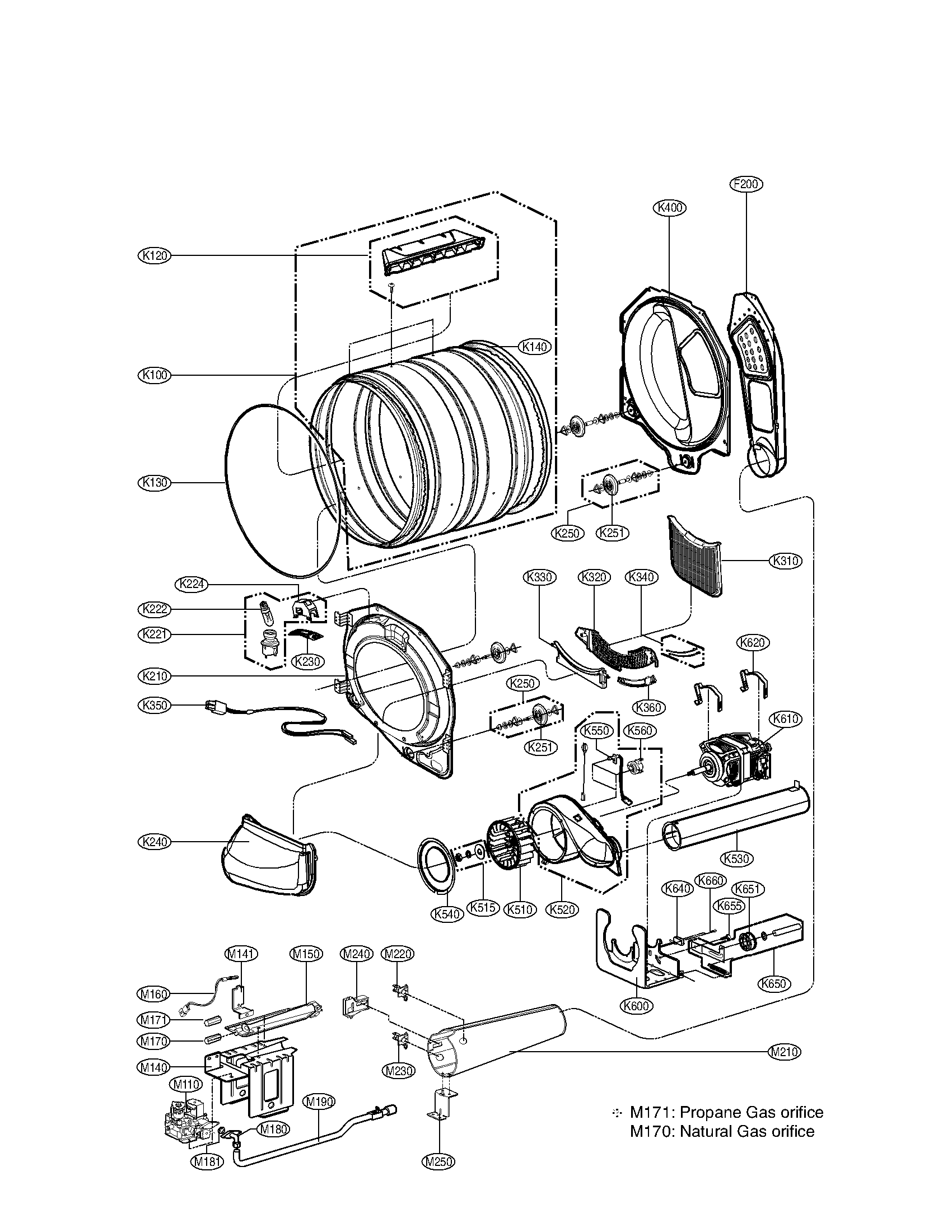LG model DLG2141W residential dryer genuine parts