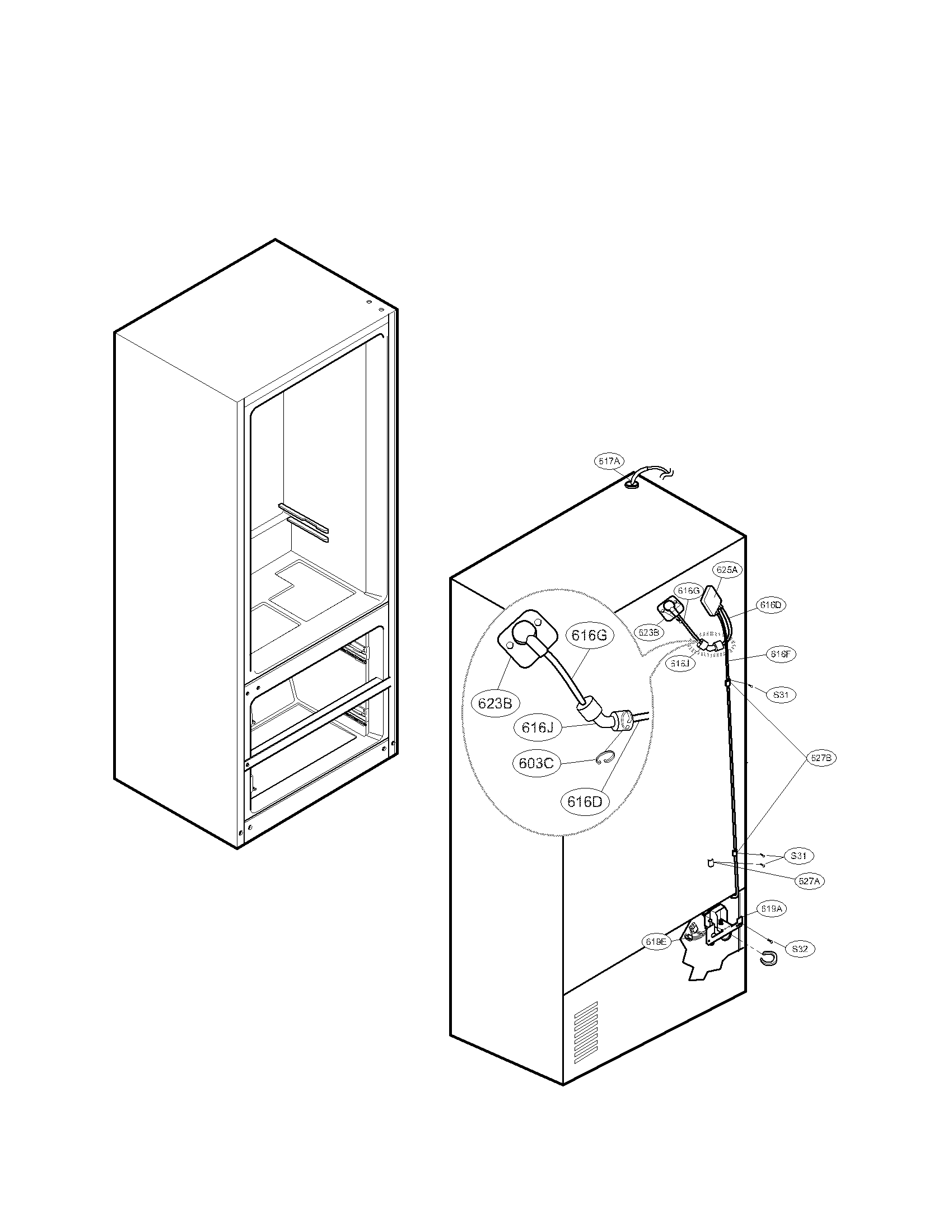 Lg model LMX25964ST/00 bottom-mount refrigerator genuine parts