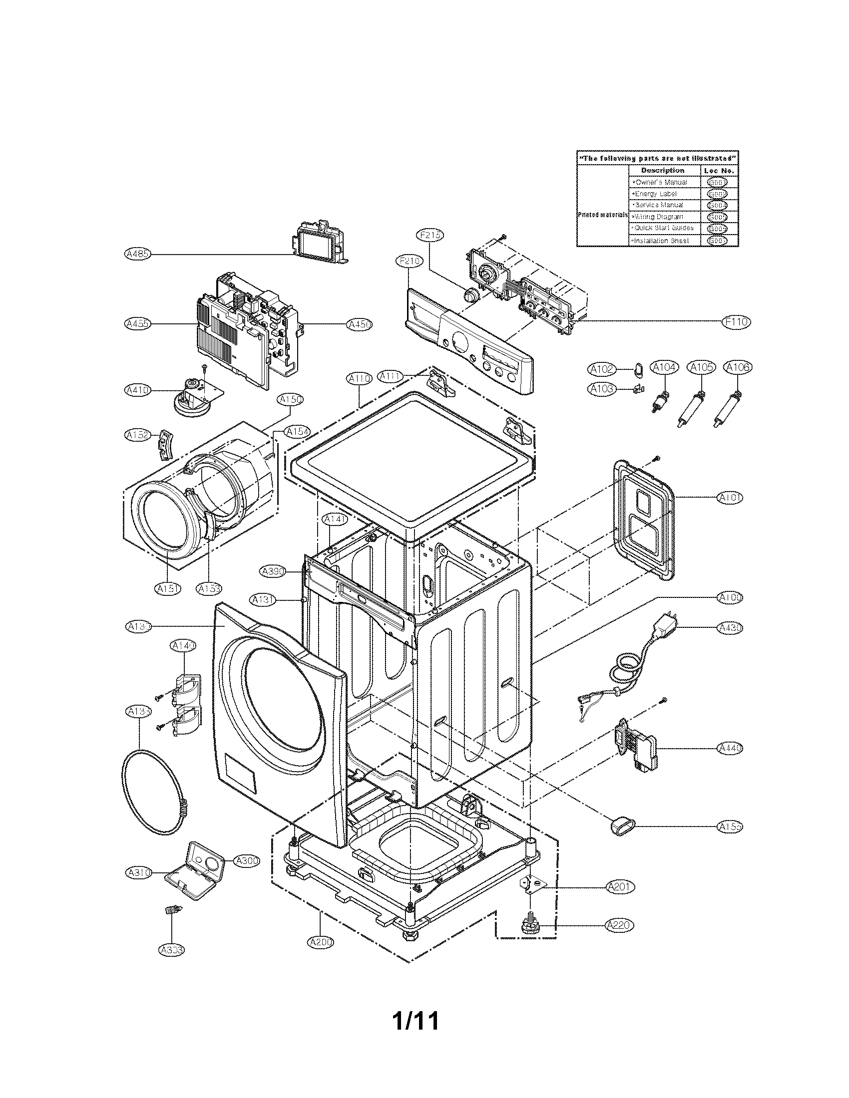 Lg model WM2301HW residential washers genuine parts