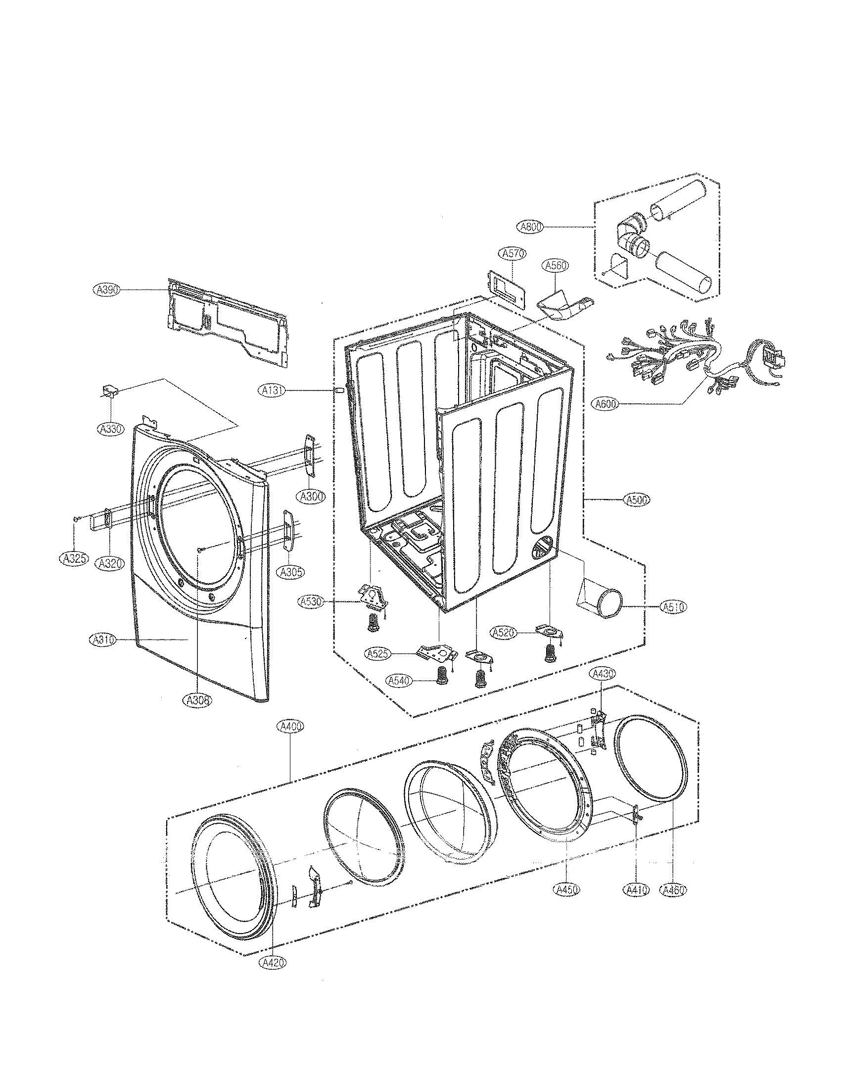 Lg model DLE2350R residential dryer genuine parts