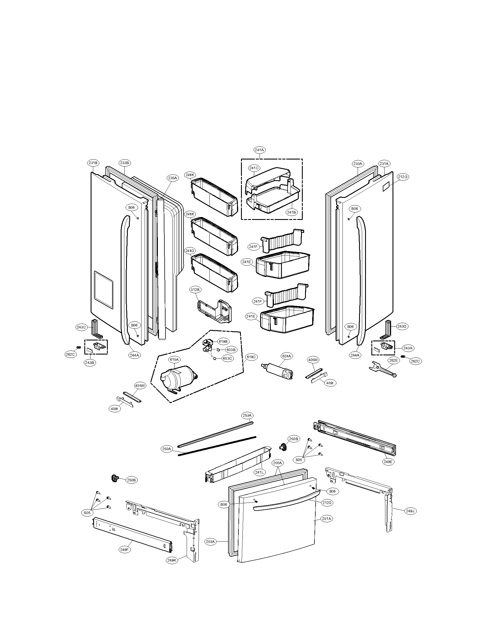Door Parts & Plain Door Handle Parts Diagram Assembly On