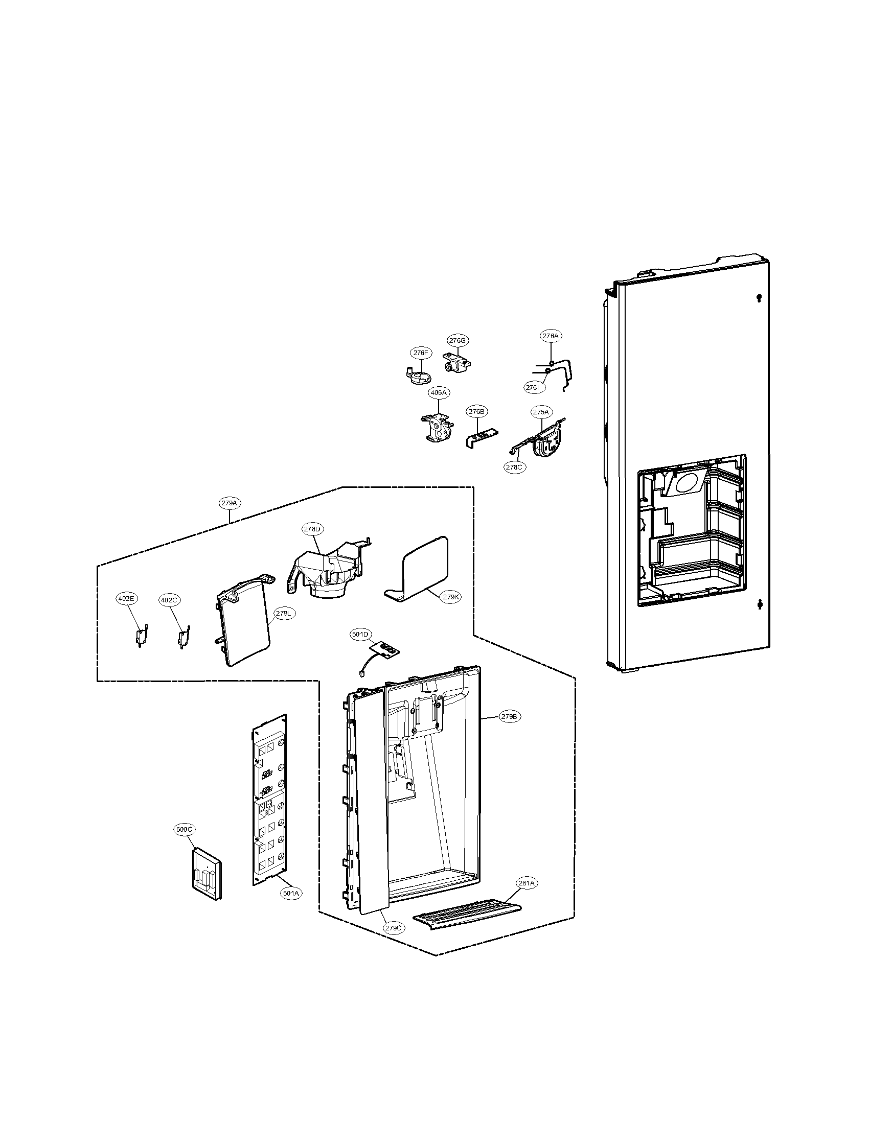 Lg model LFX31925SW bottom-mount refrigerator genuine parts