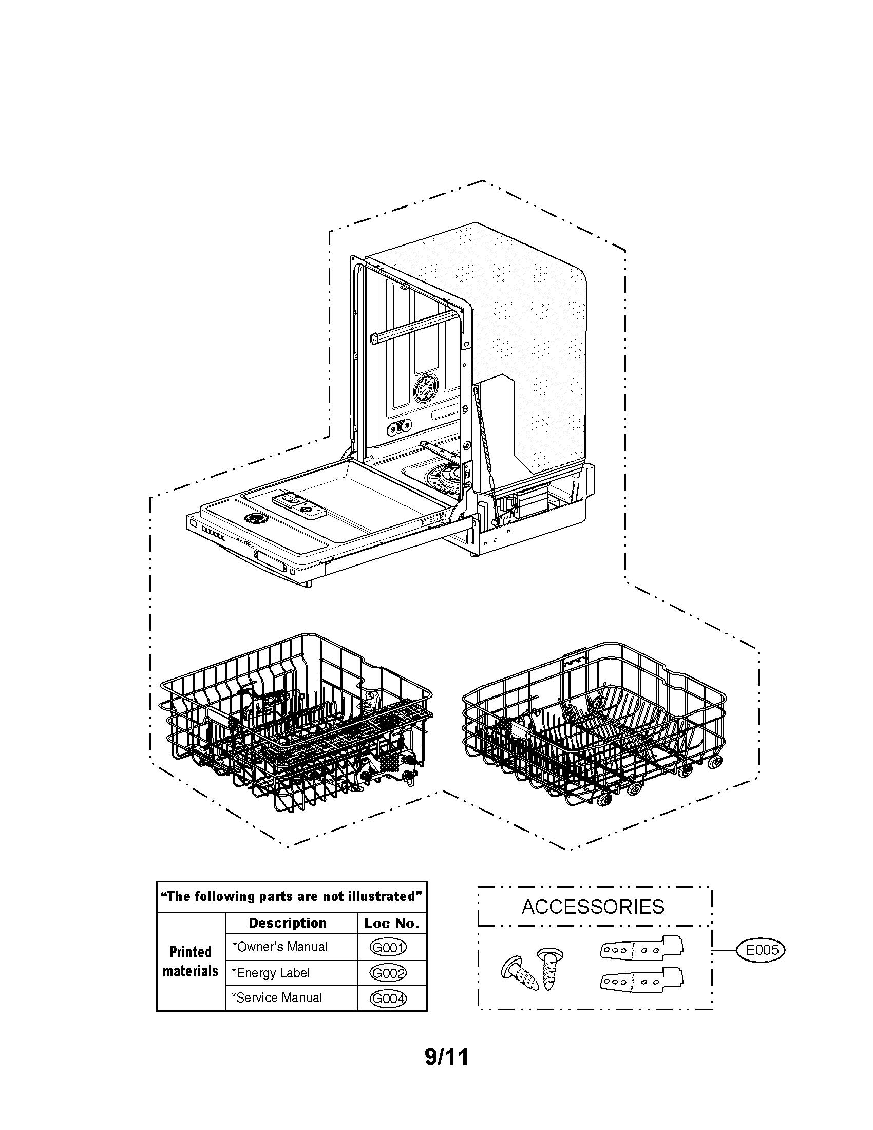 Lg model LSDF995ST dishwasher genuine parts