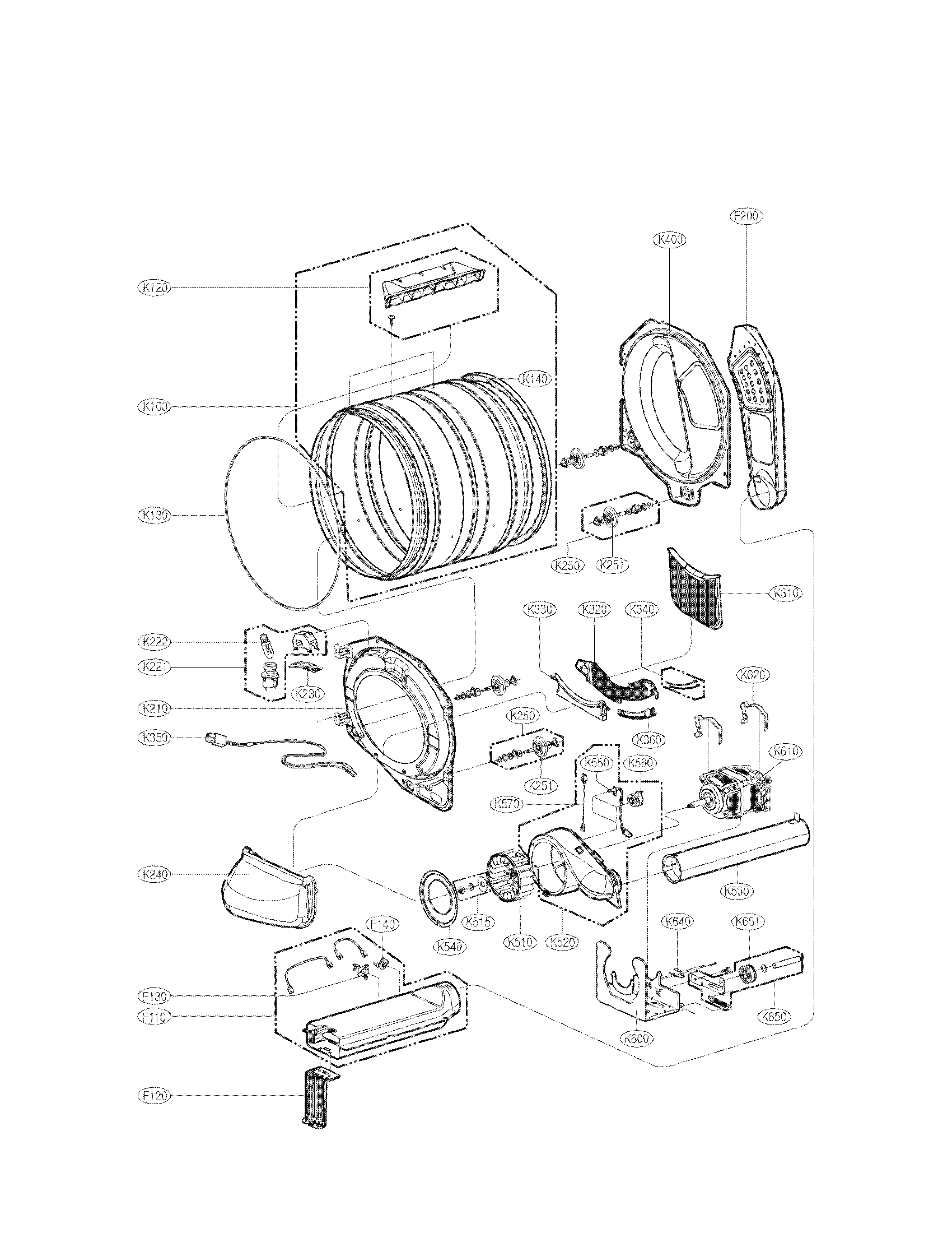 Lg model DLE8377WM residential dryer genuine parts