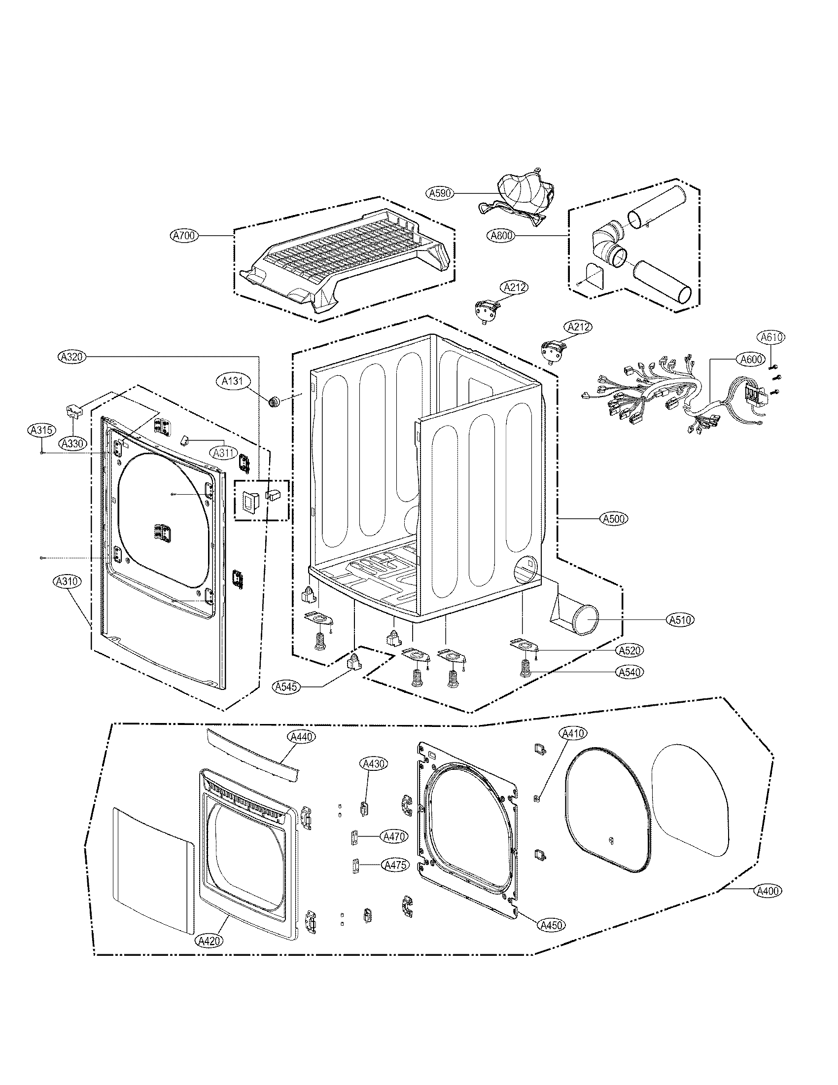 Lg model DLEX5170W residential dryer genuine parts