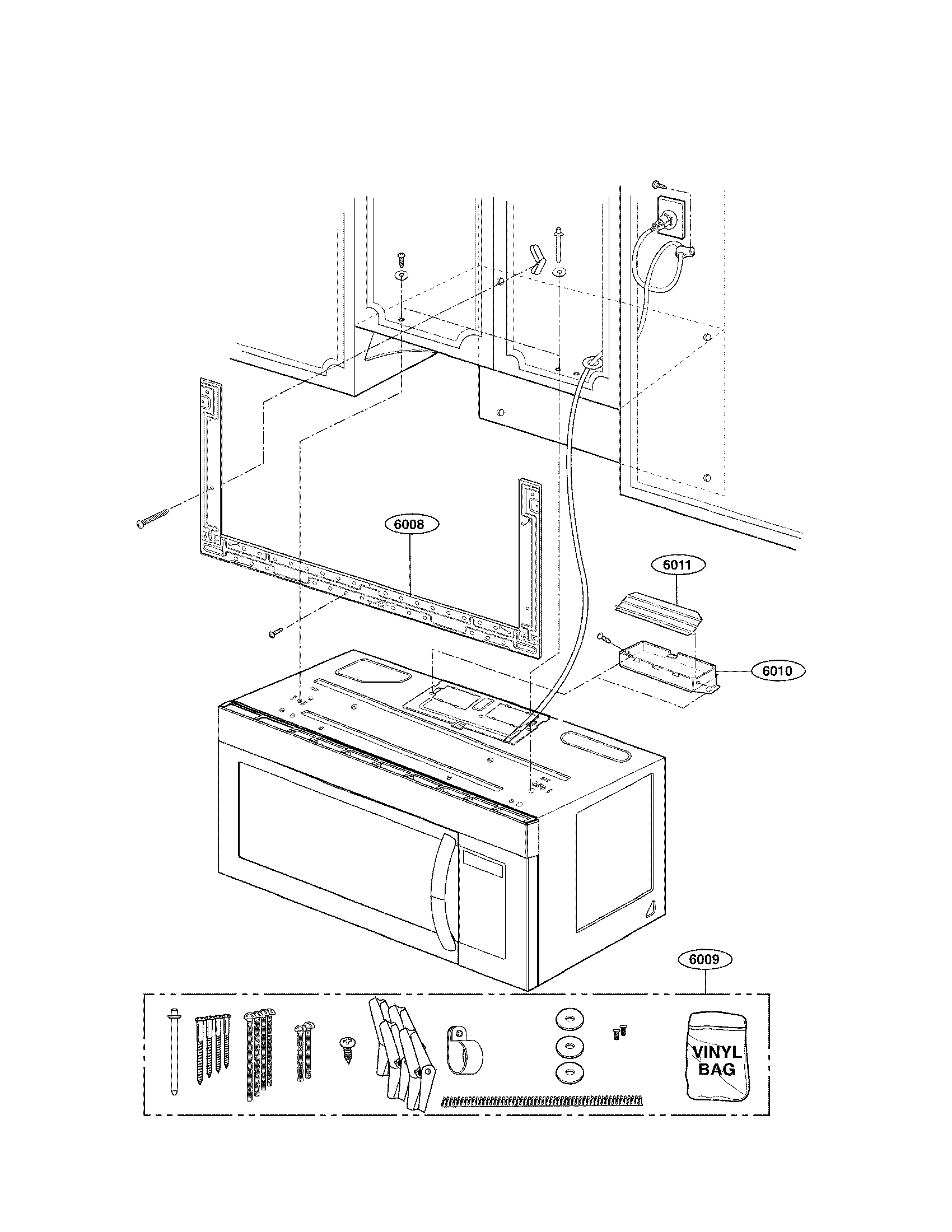 Lg model LMV1683ST/00 microwave/hood combo genuine parts