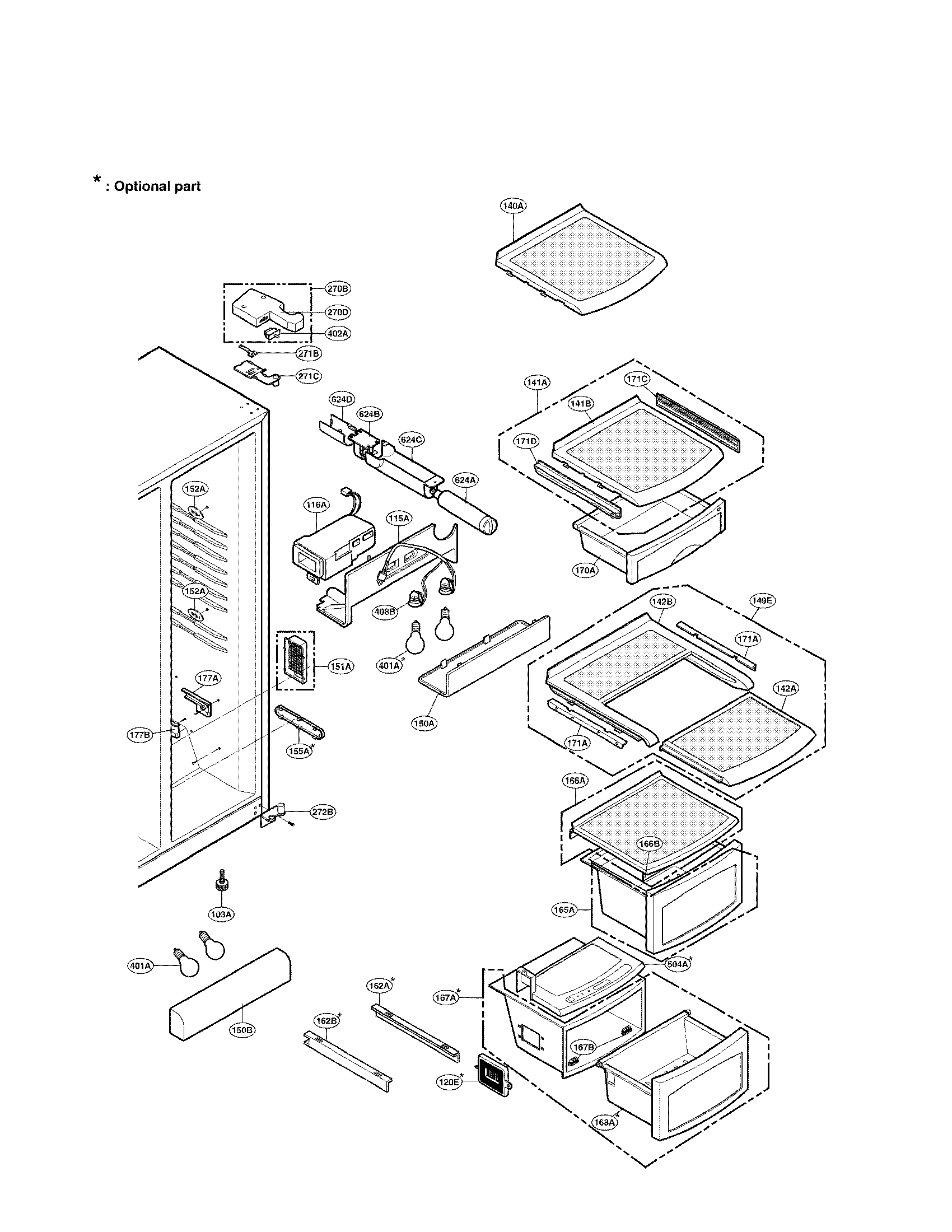 Lg model LRSC26940ST side-by-side refrigerator genuine parts