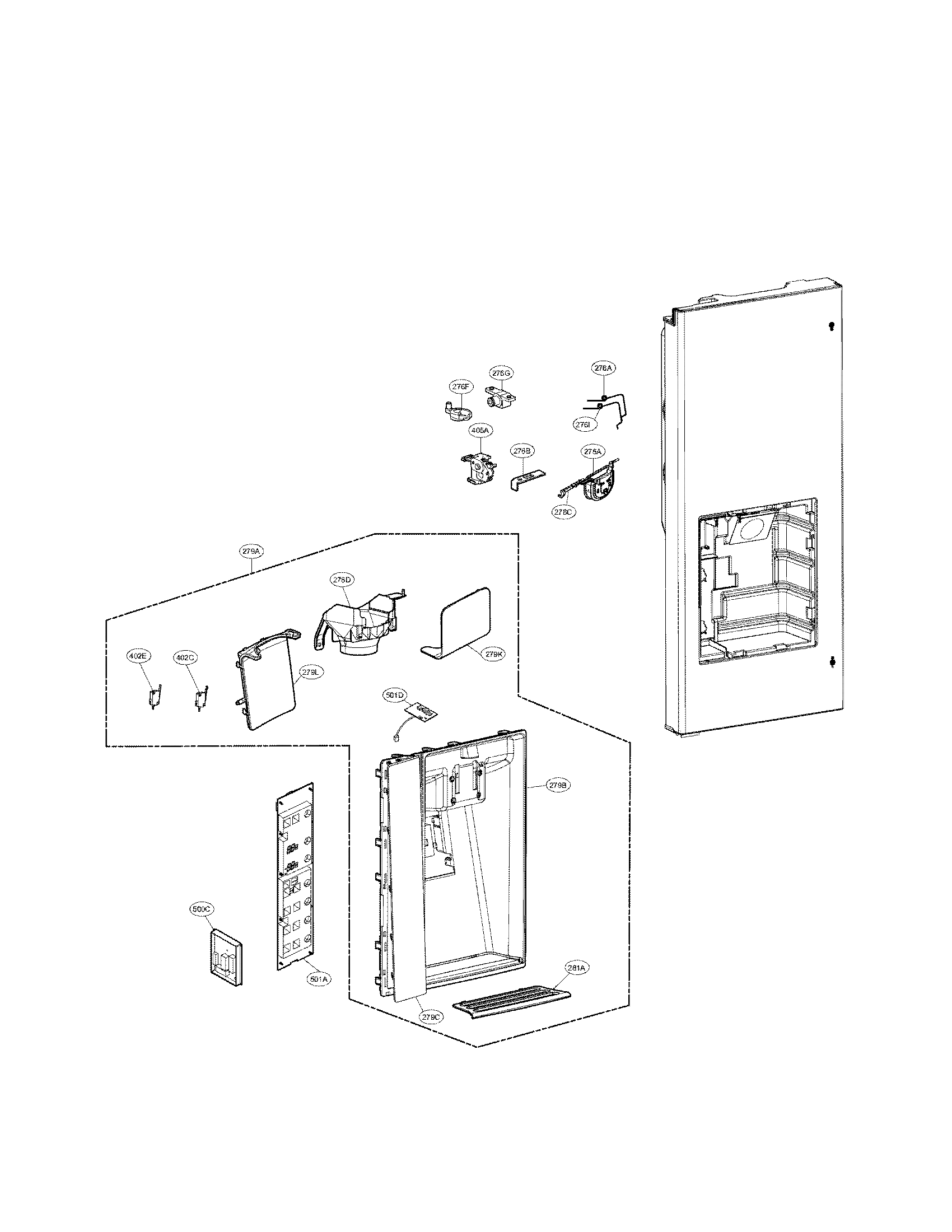 Lg model LFX31945ST bottom-mount refrigerator genuine parts