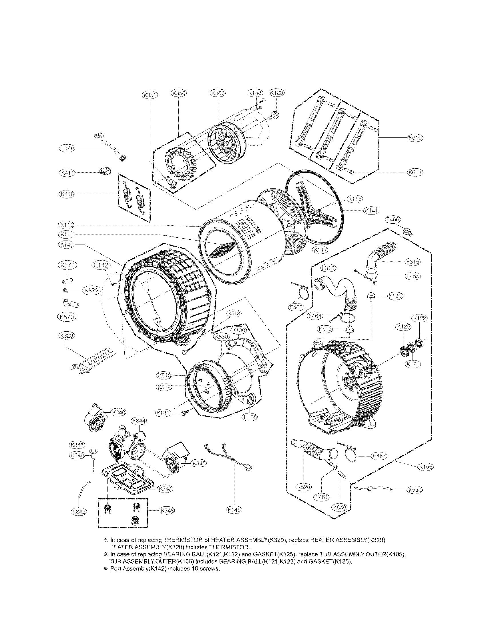 Lg model WM8000HVA residential washers genuine parts