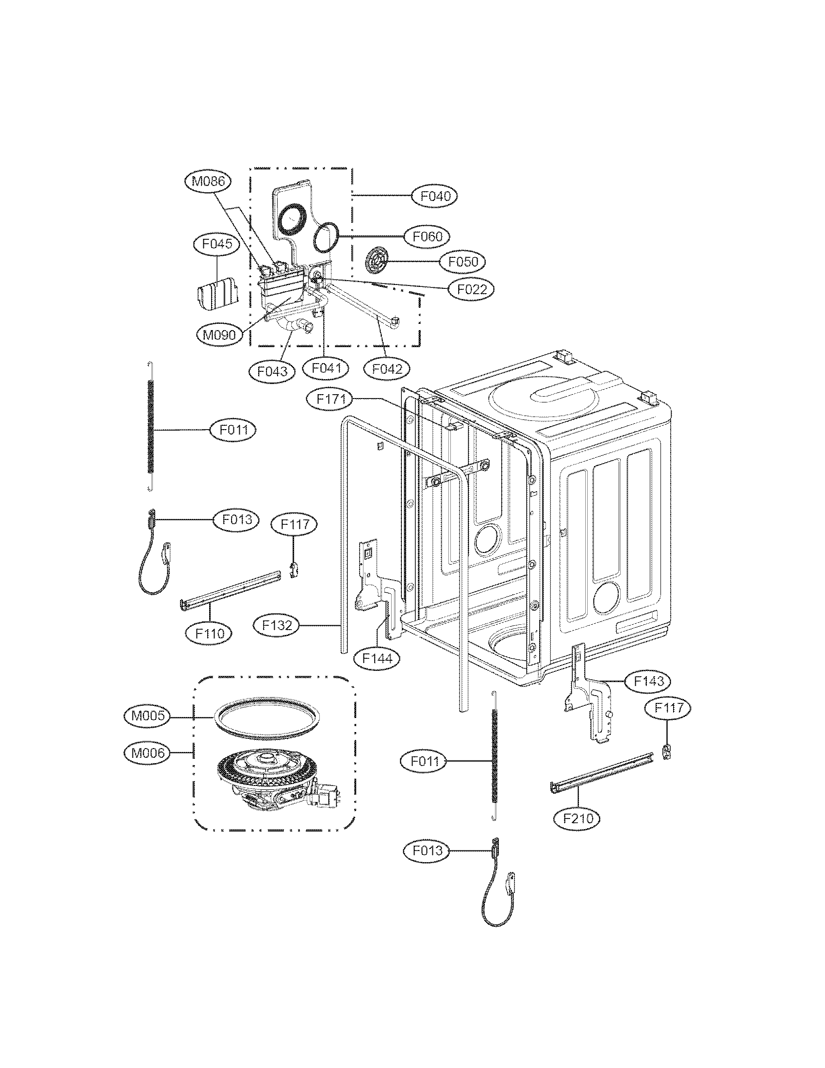 Lg model LDS5040BB dishwasher genuine parts