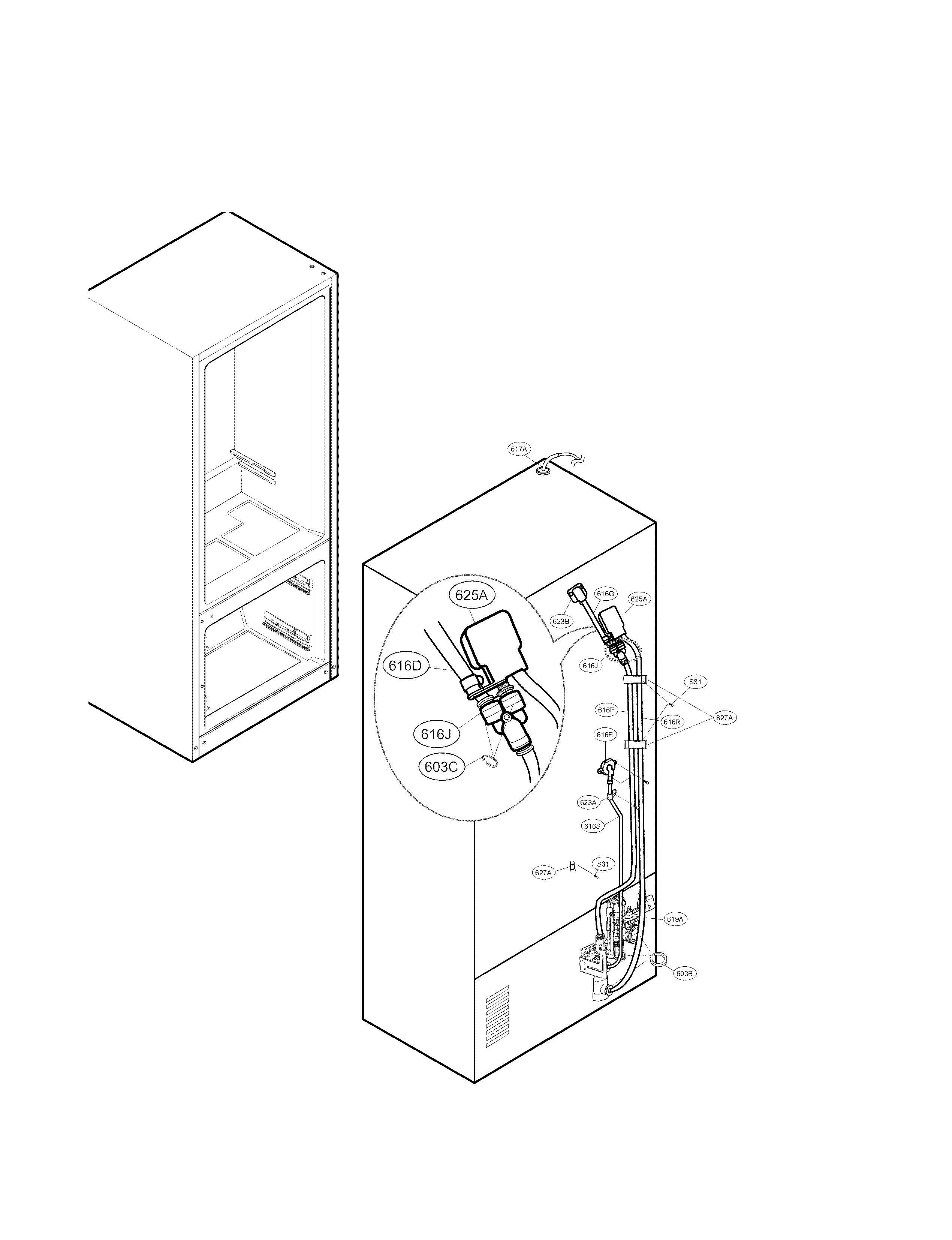 Lg model LFX29945ST bottom-mount refrigerator genuine parts