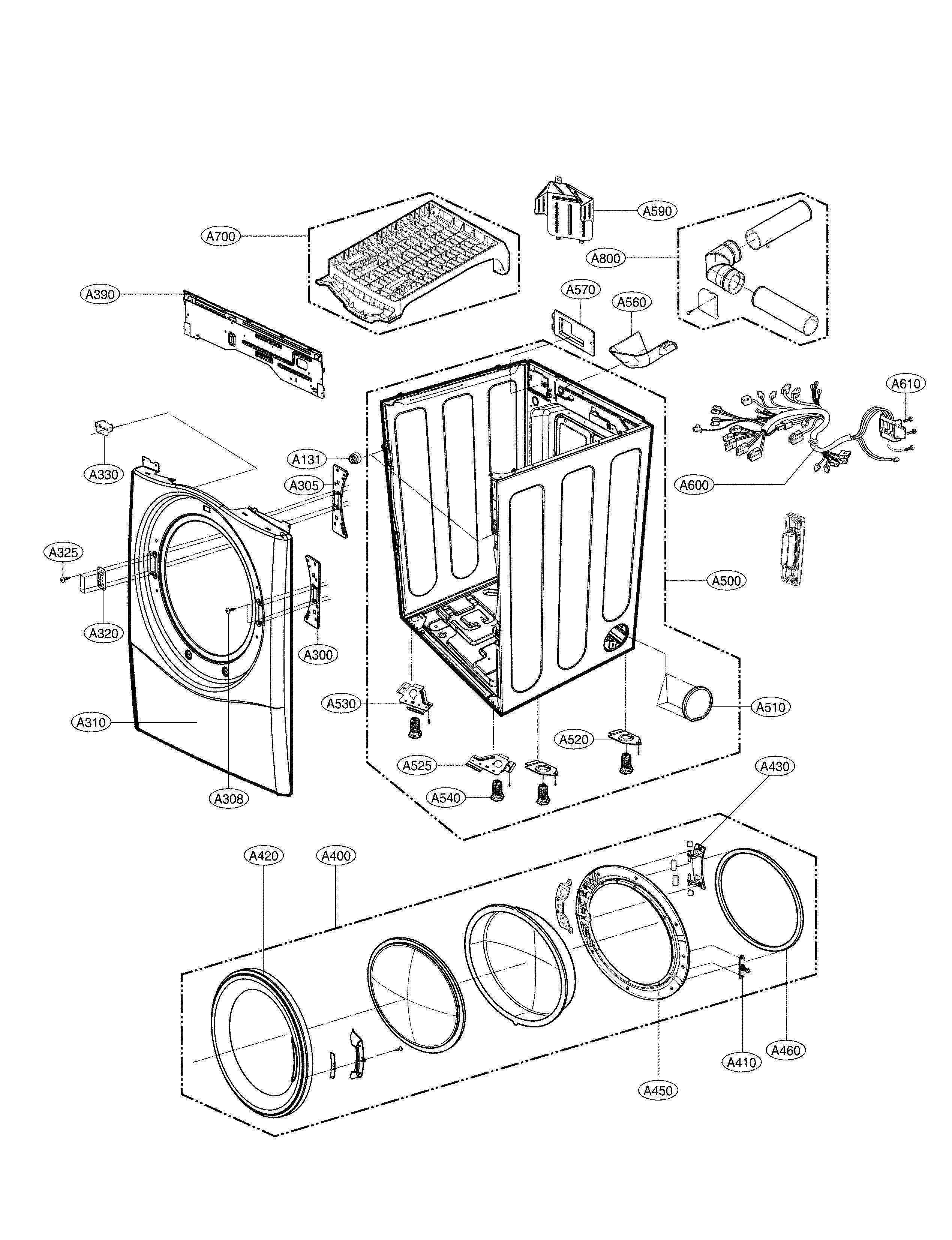 Lg model DLEX3570V residential dryer genuine parts