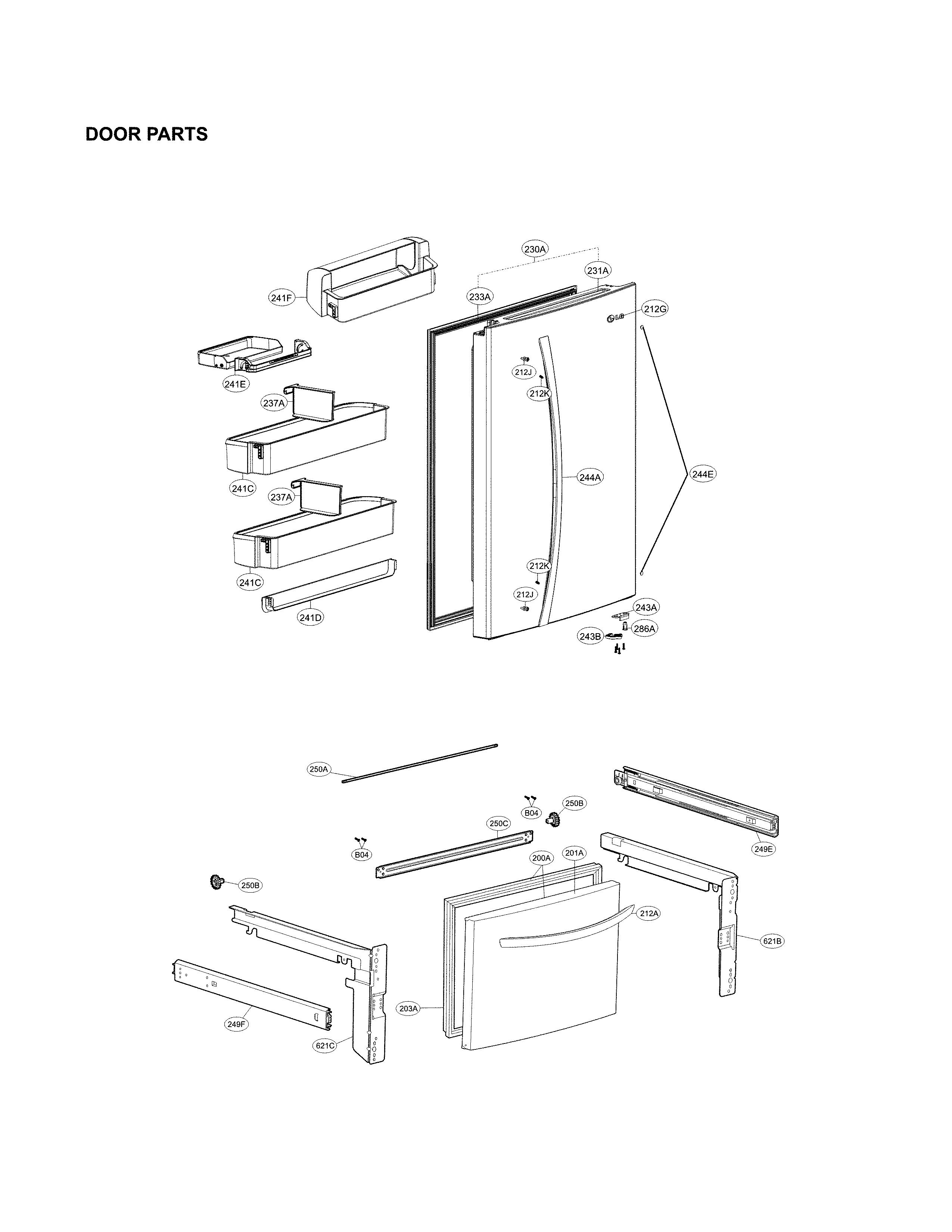 Lg model LDCS24223S/00 bottom-mount refrigerator genuine parts