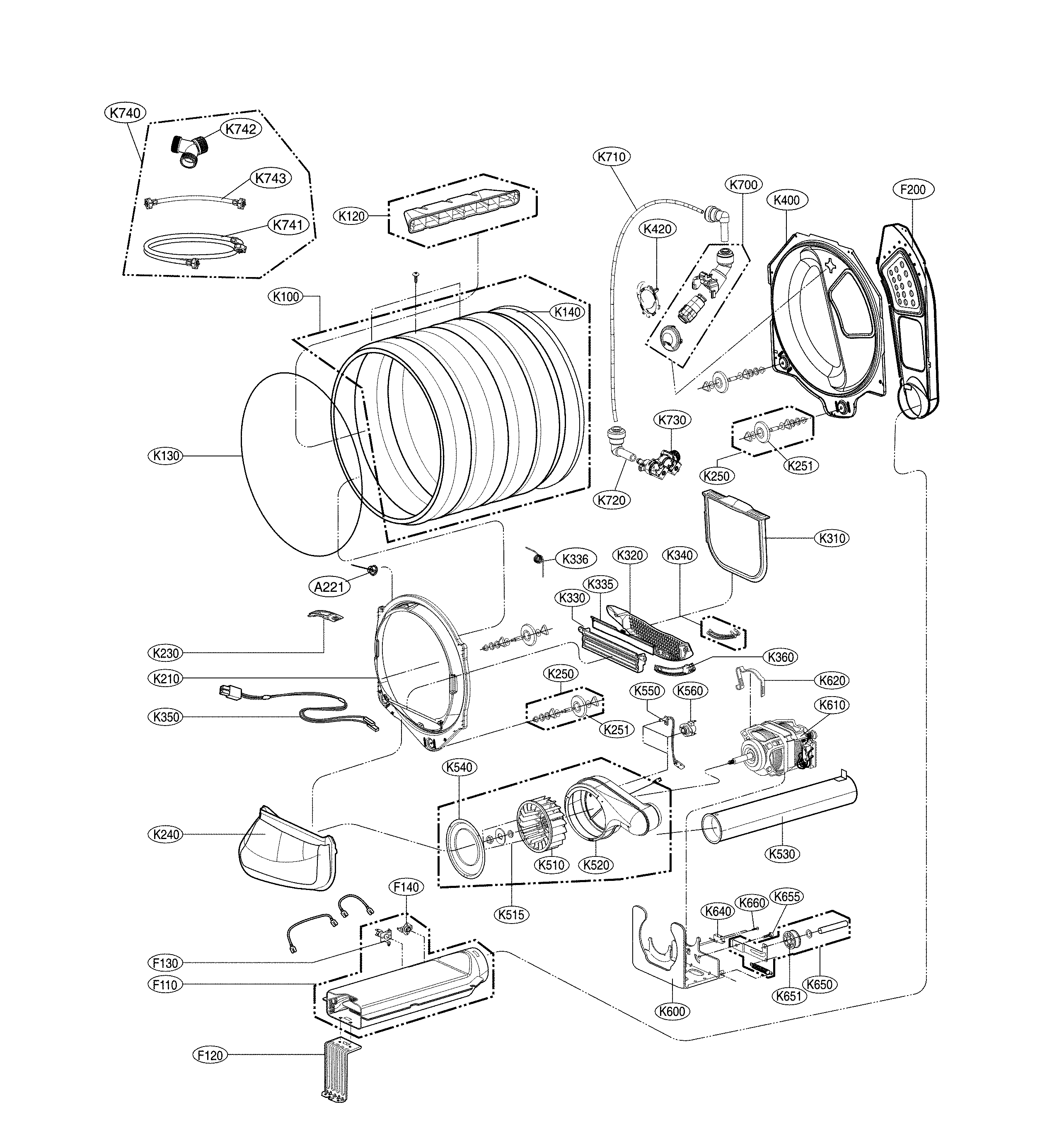 Lg model DLEY1901KE residential dryer genuine parts