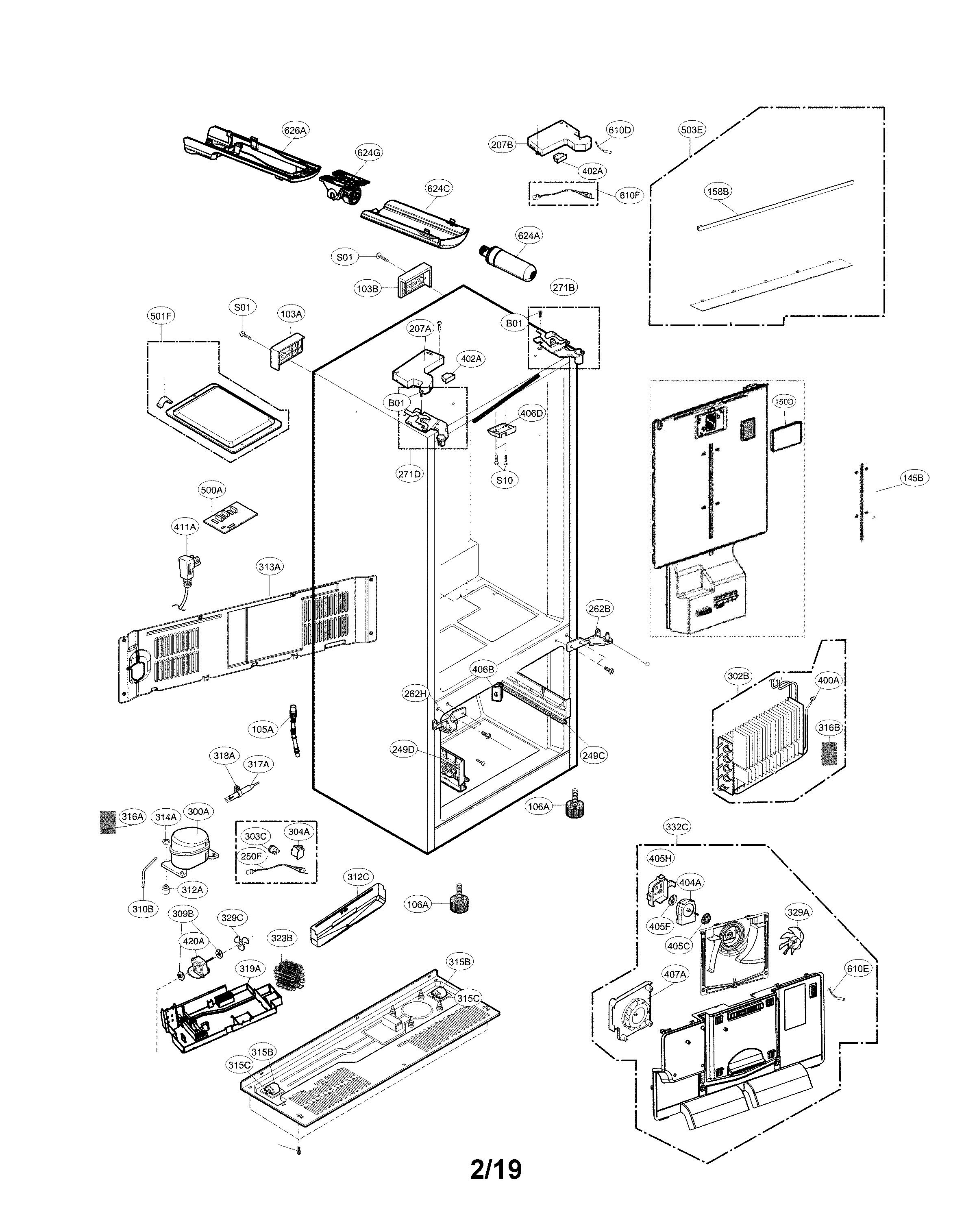 Lg model LFXS26596S/00 bottom-mount refrigerator genuine parts