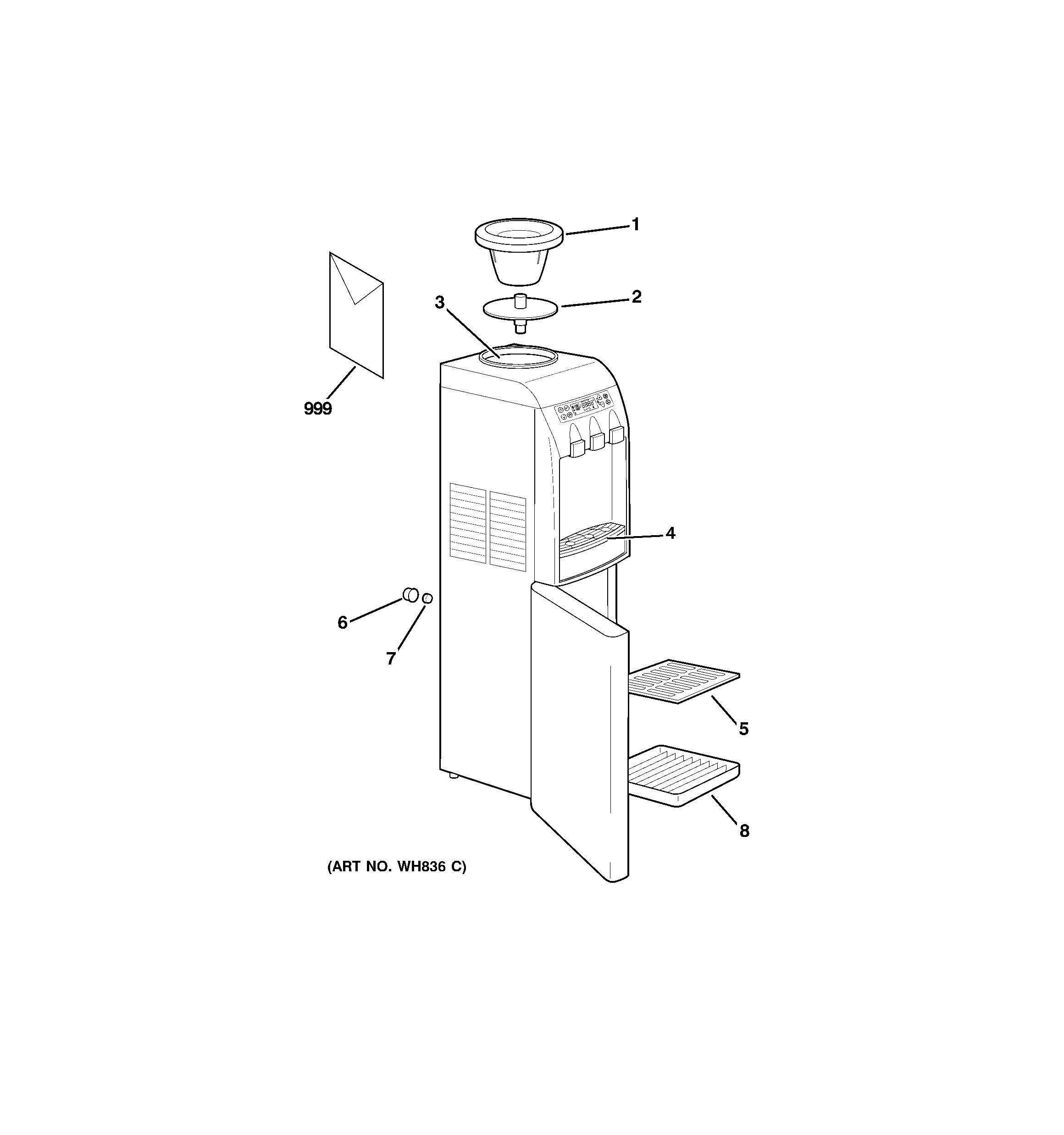 Ge model GXCF35GBS water dispenser genuine parts