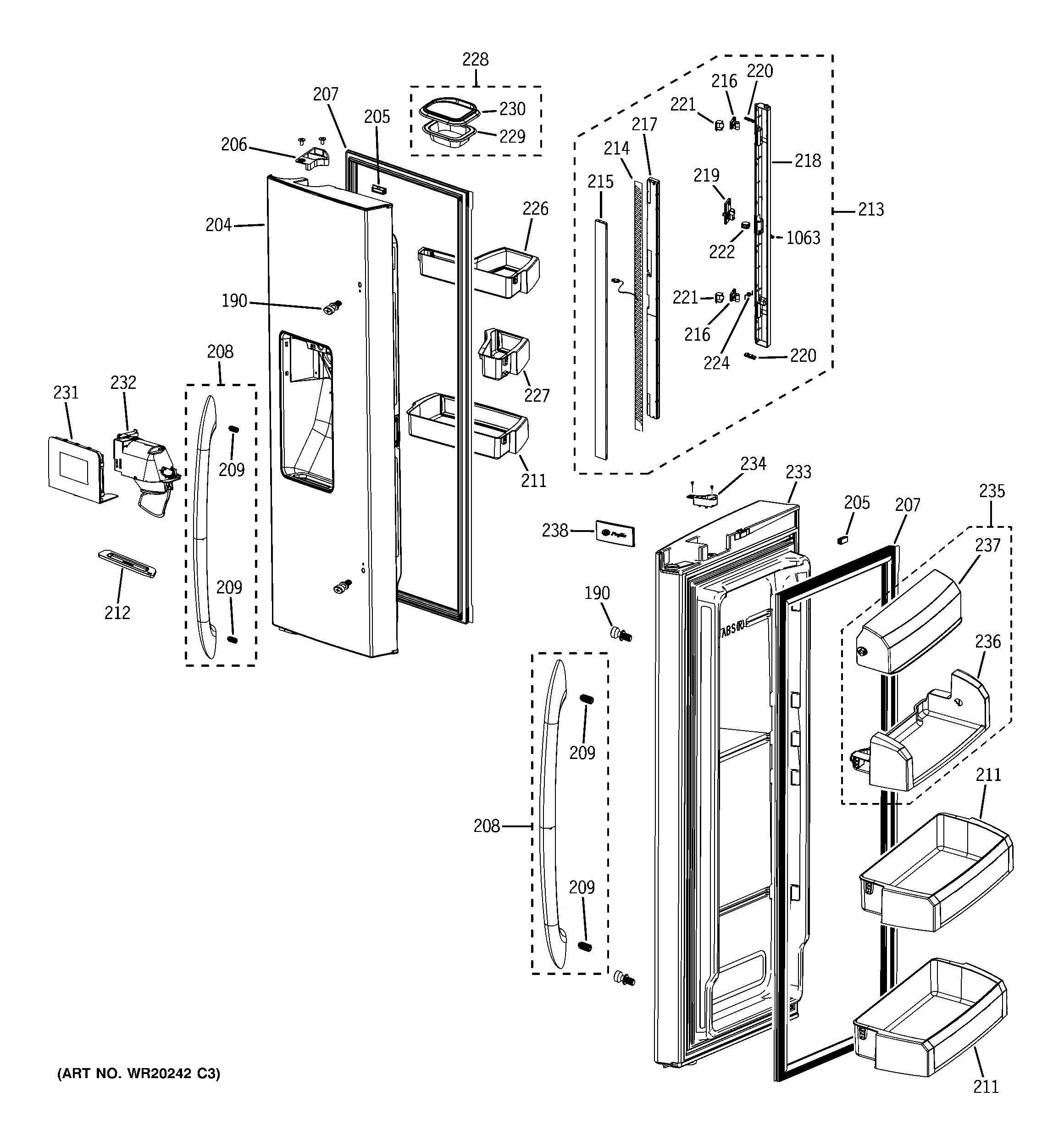 Ge model PFSS6PKWBSS bottom-mount refrigerator genuine parts