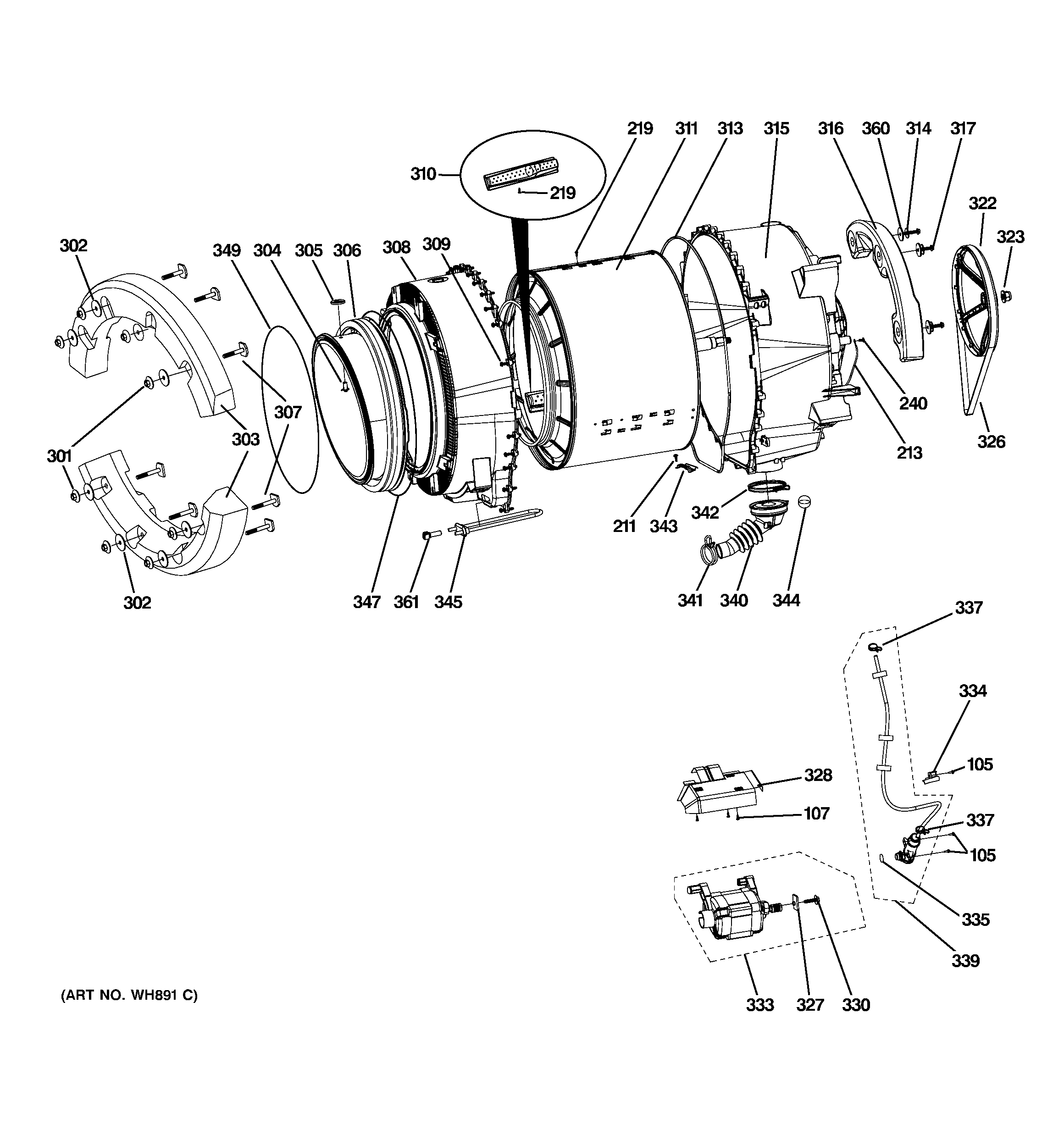 ge front load washer diagram 1969 ford f100 ignition switch wiring parts model wpdh8800j0mg sears partsdirect