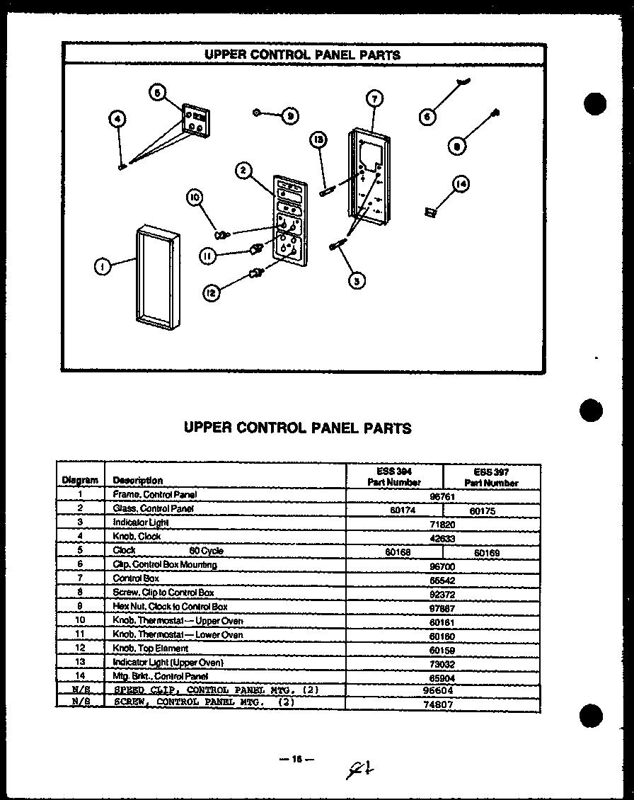 Caloric model ESS345 ranges electric genuine parts