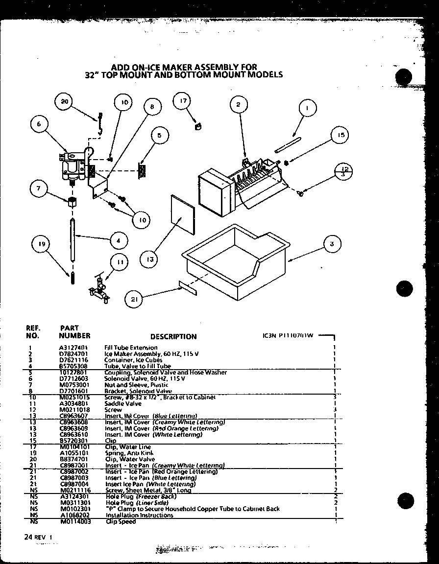 Amana model TX18QL-P1111401WL top-mount refrigerator