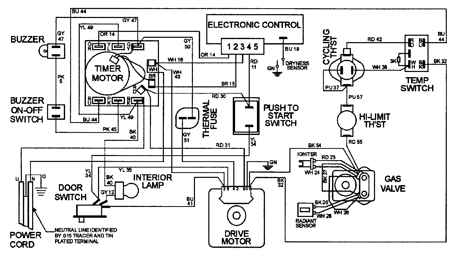 Maytag model MDG7057AWW residential dryer genuine parts