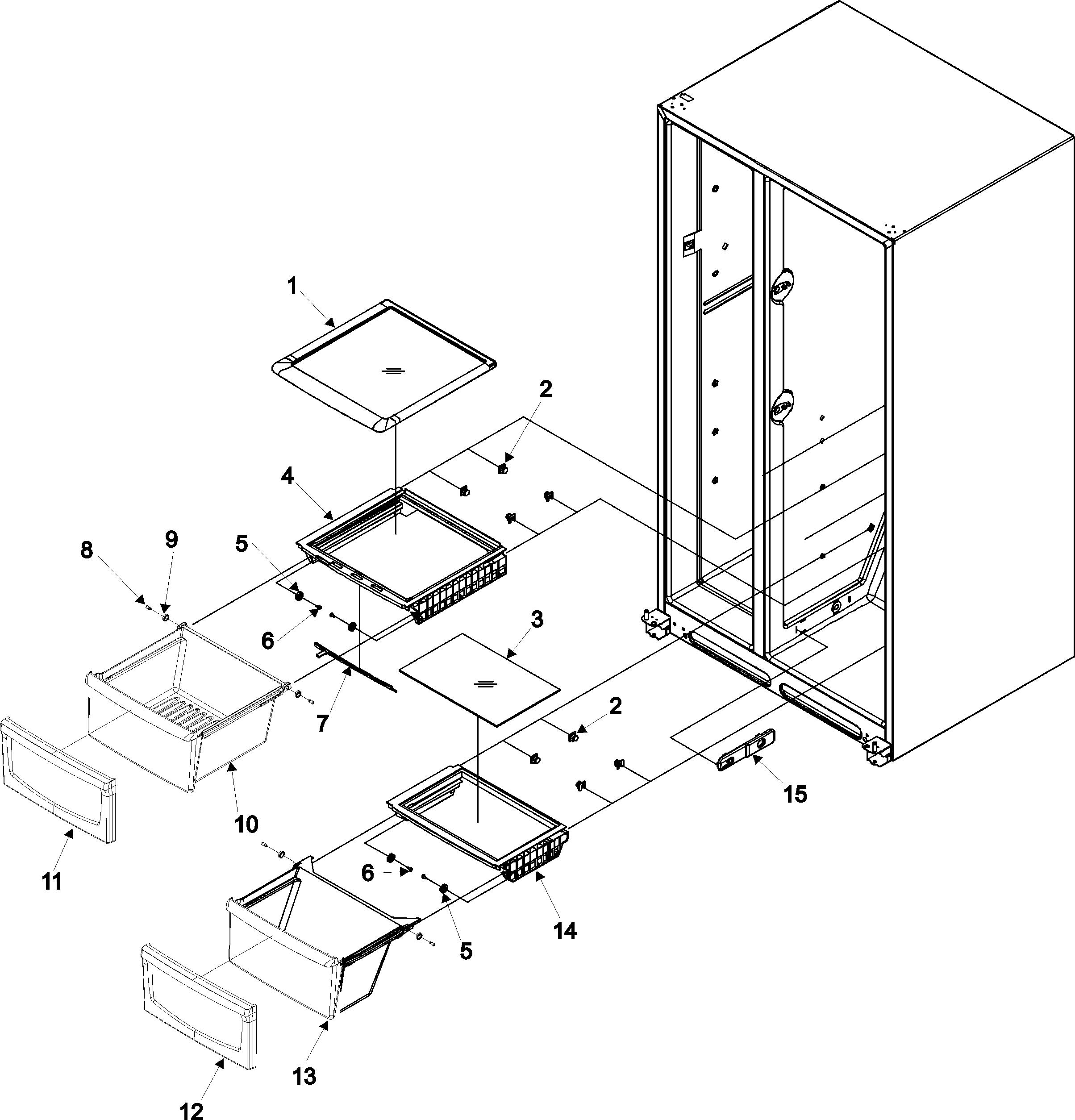 Amana model ASD2626HEW side-by-side refrigerator genuine parts
