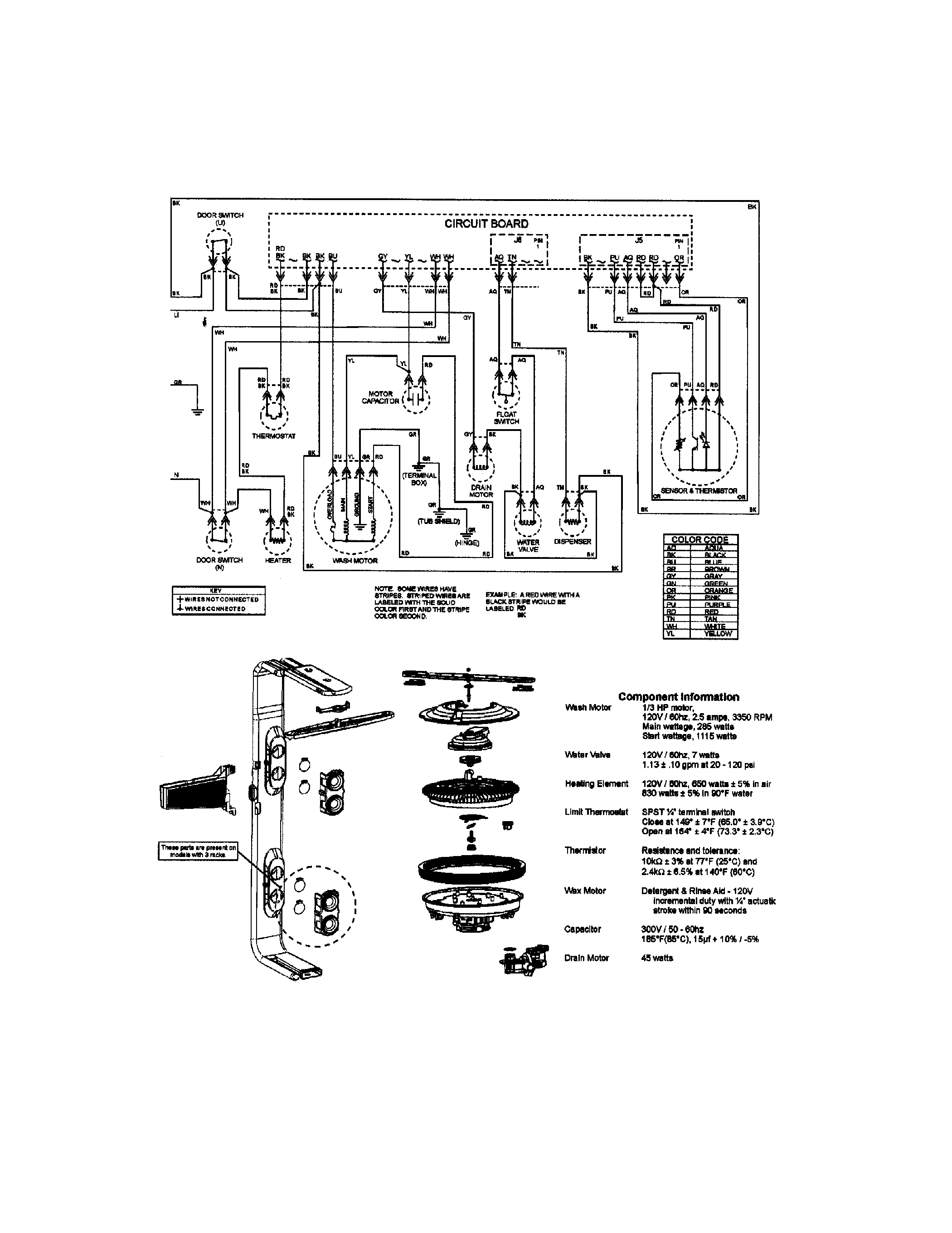 Jenn-Air model JDB1100AWS dishwasher genuine parts
