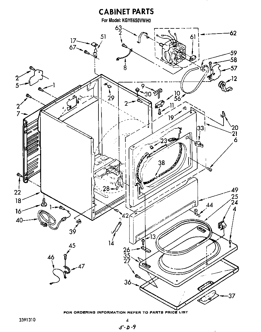 Kitchenaid model KGYE650VWH0 residential dryer genuine parts