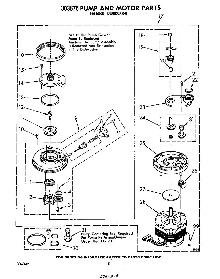 Whirlpool model DU6000XR0 dishwasher genuine parts